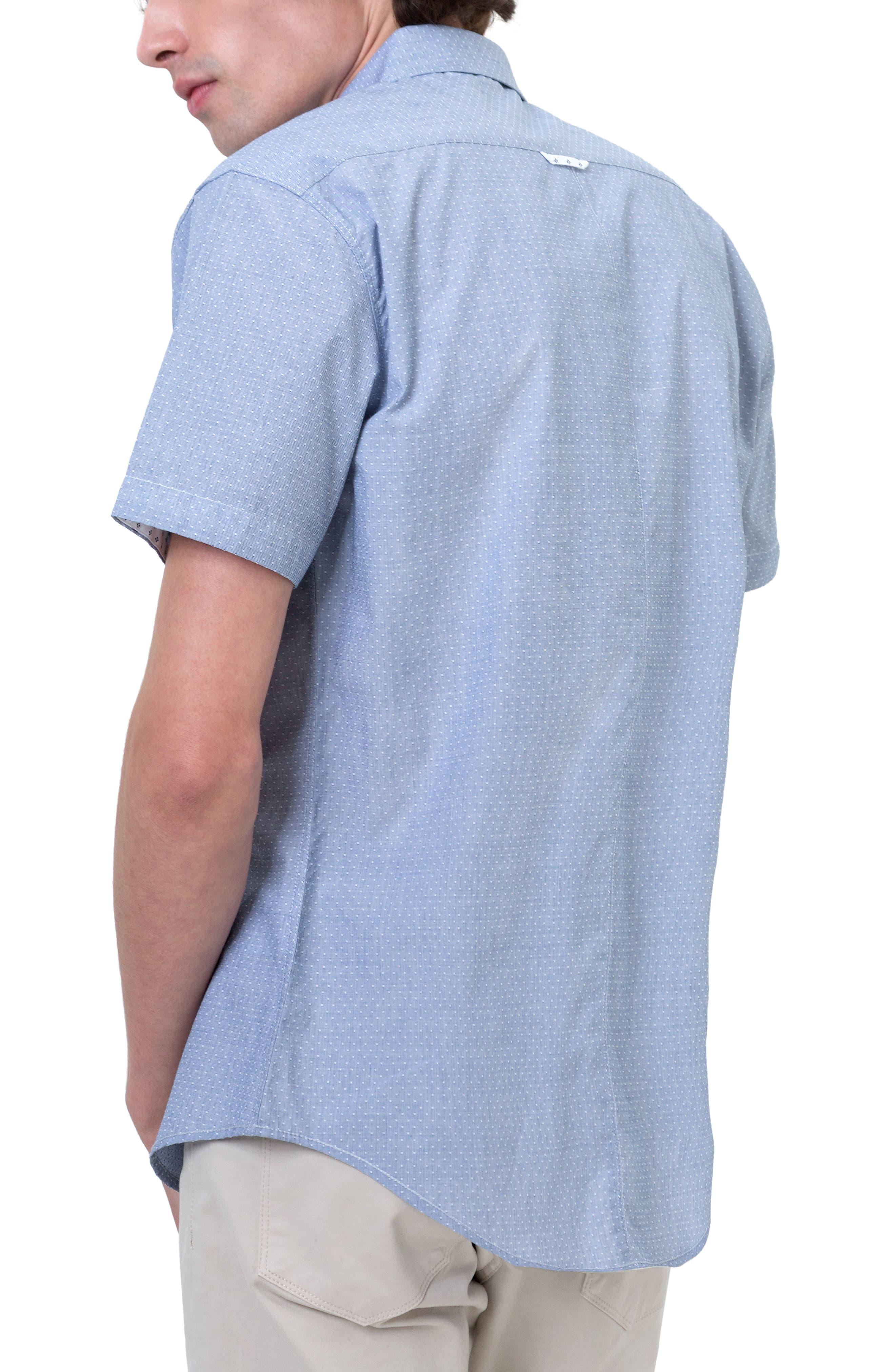 Reflective Dobby Dot Sport Shirt,                             Alternate thumbnail 2, color,                             Grey