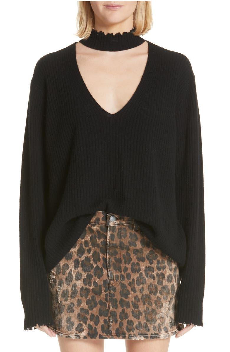 High Waist Leopard Print Distressed Denim Mini Skirt