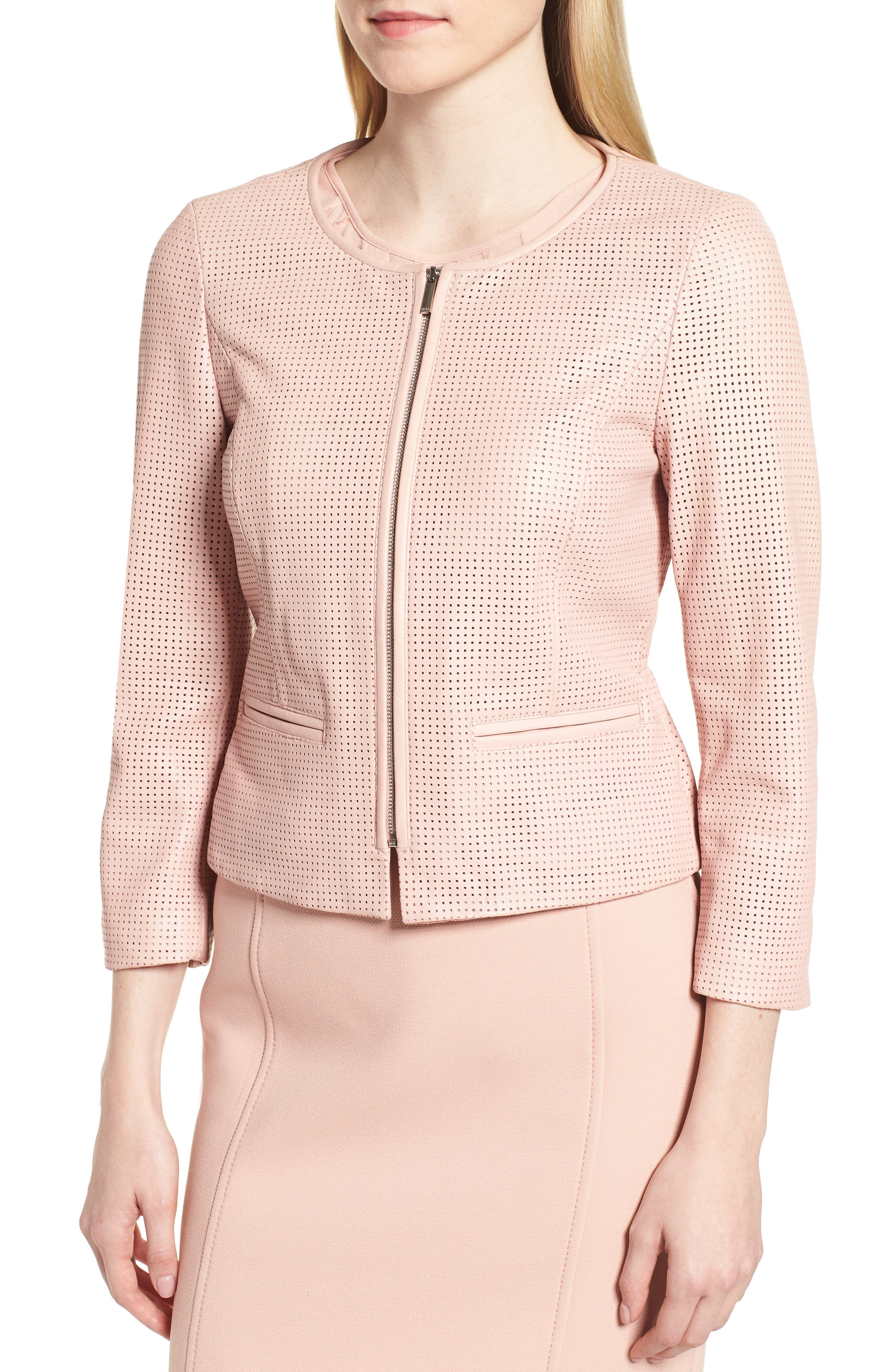Sallotina Perforated Leather Jacket,                             Alternate thumbnail 4, color,                             Blush