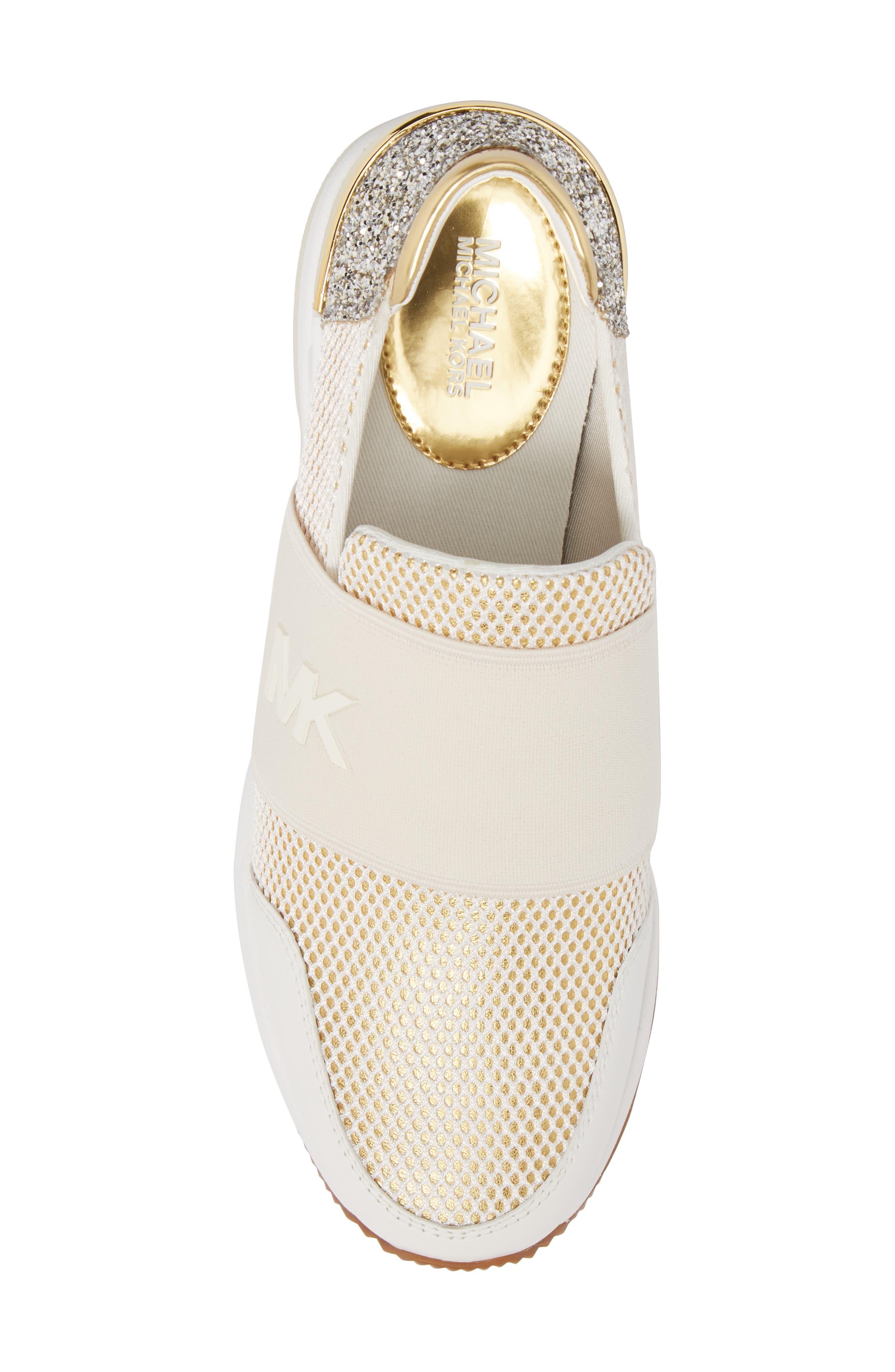 Felix Slip-On Glitter Sneaker,                             Alternate thumbnail 5, color,                             Gold
