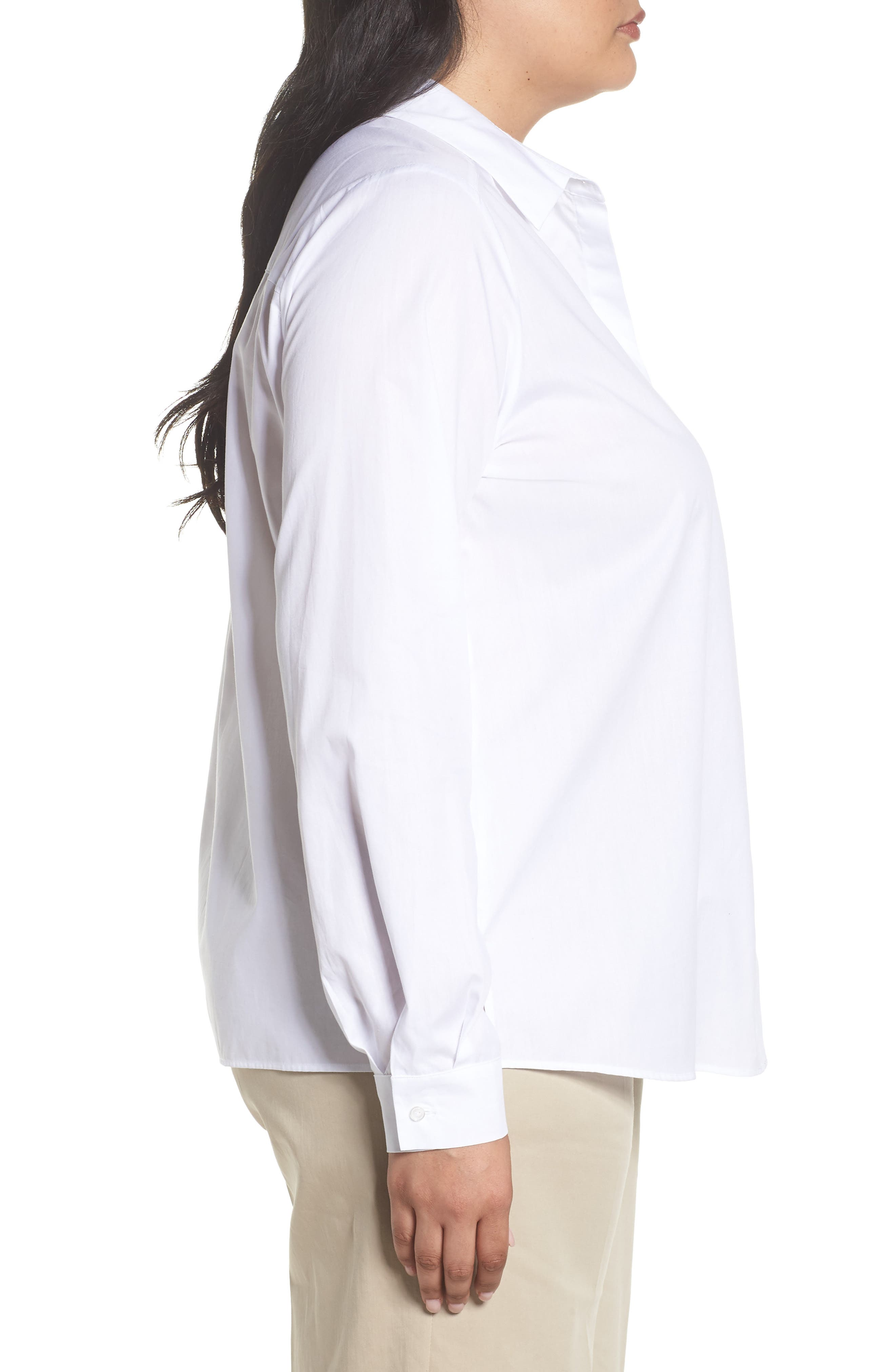 Button Front Shirt,                             Alternate thumbnail 3, color,                             White
