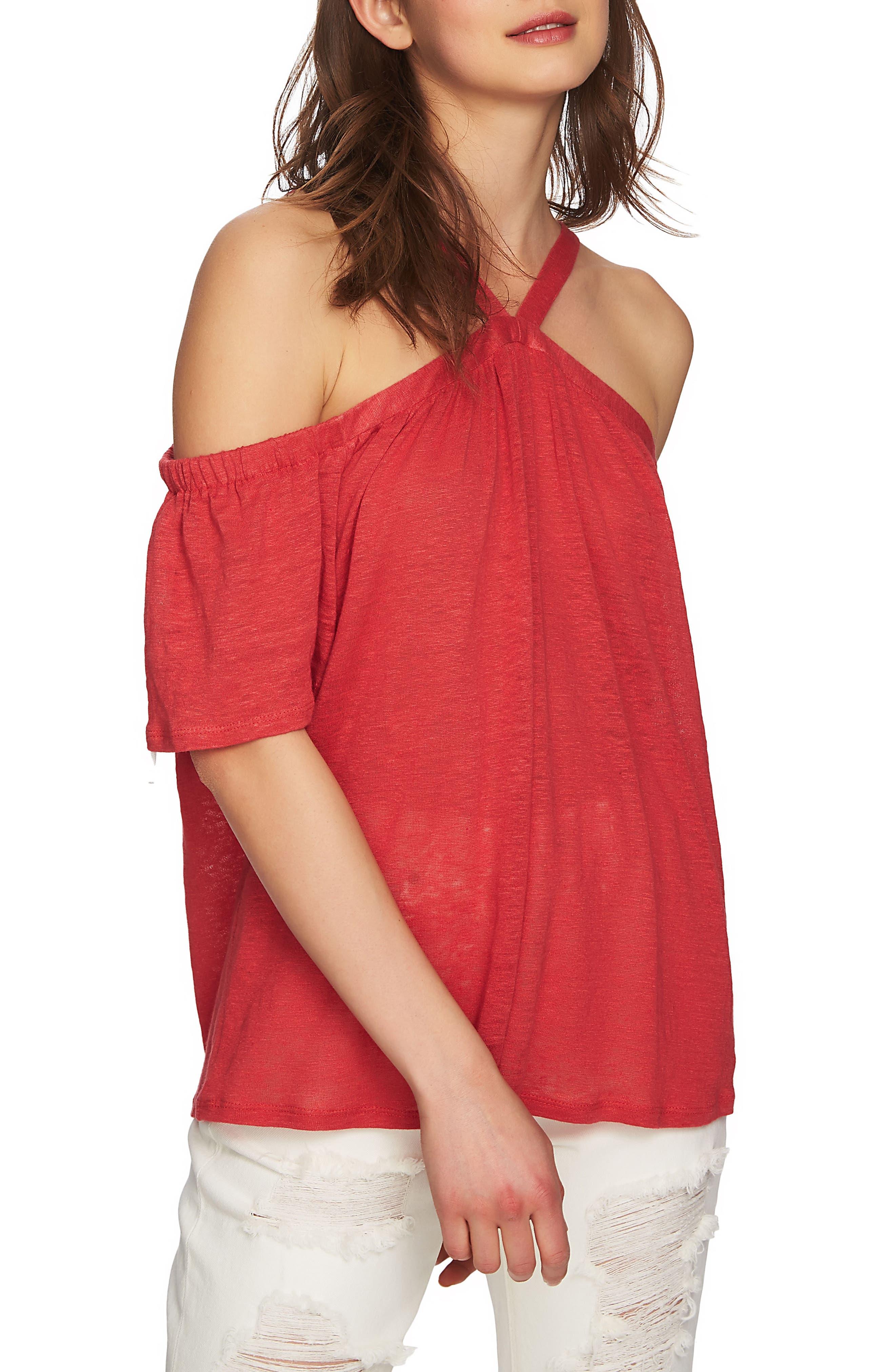 1.STATE Cold Shoulder Linen Top