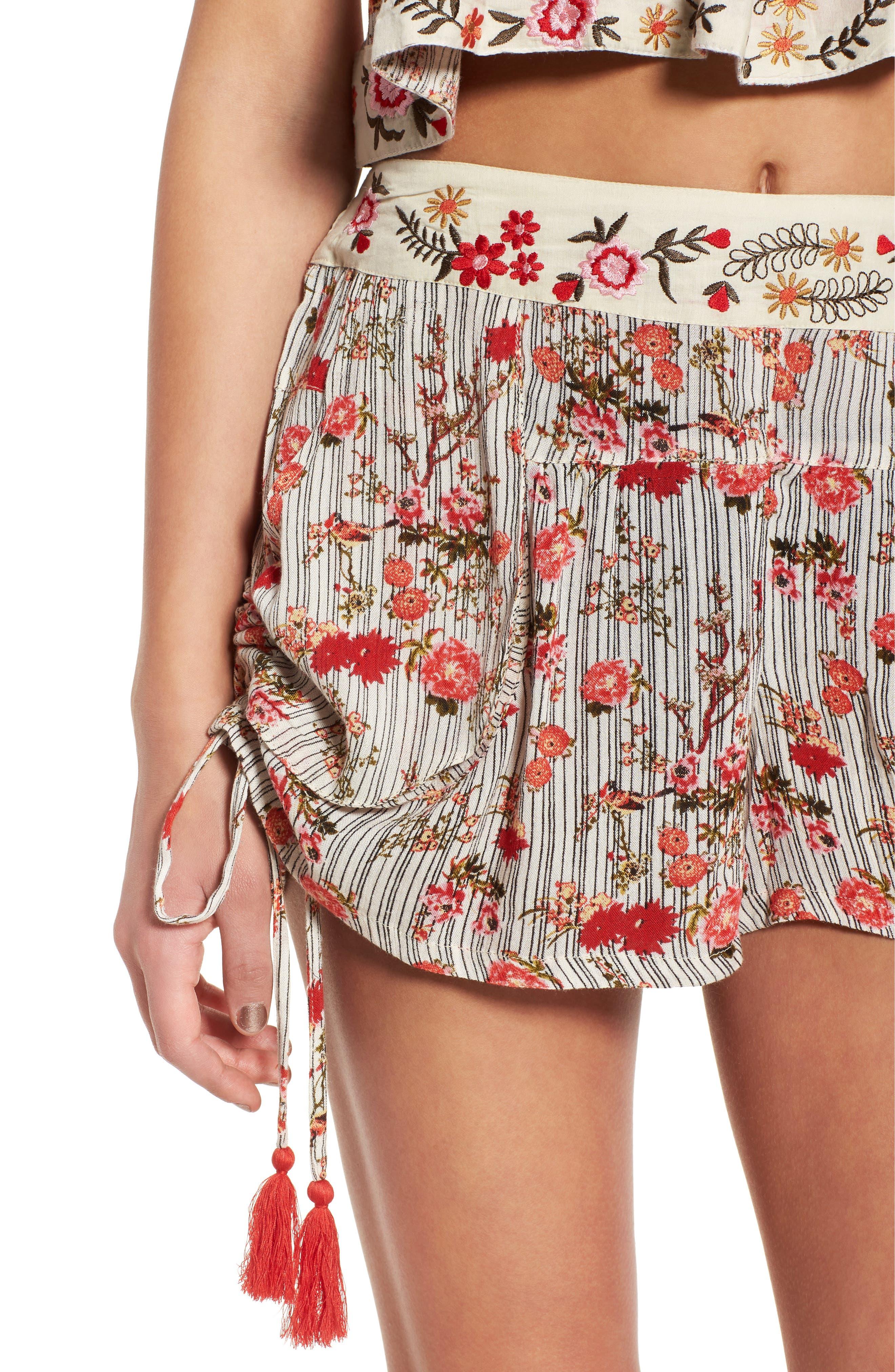 Primrose Floral Print Shorts,                             Alternate thumbnail 6, color,                             Multi