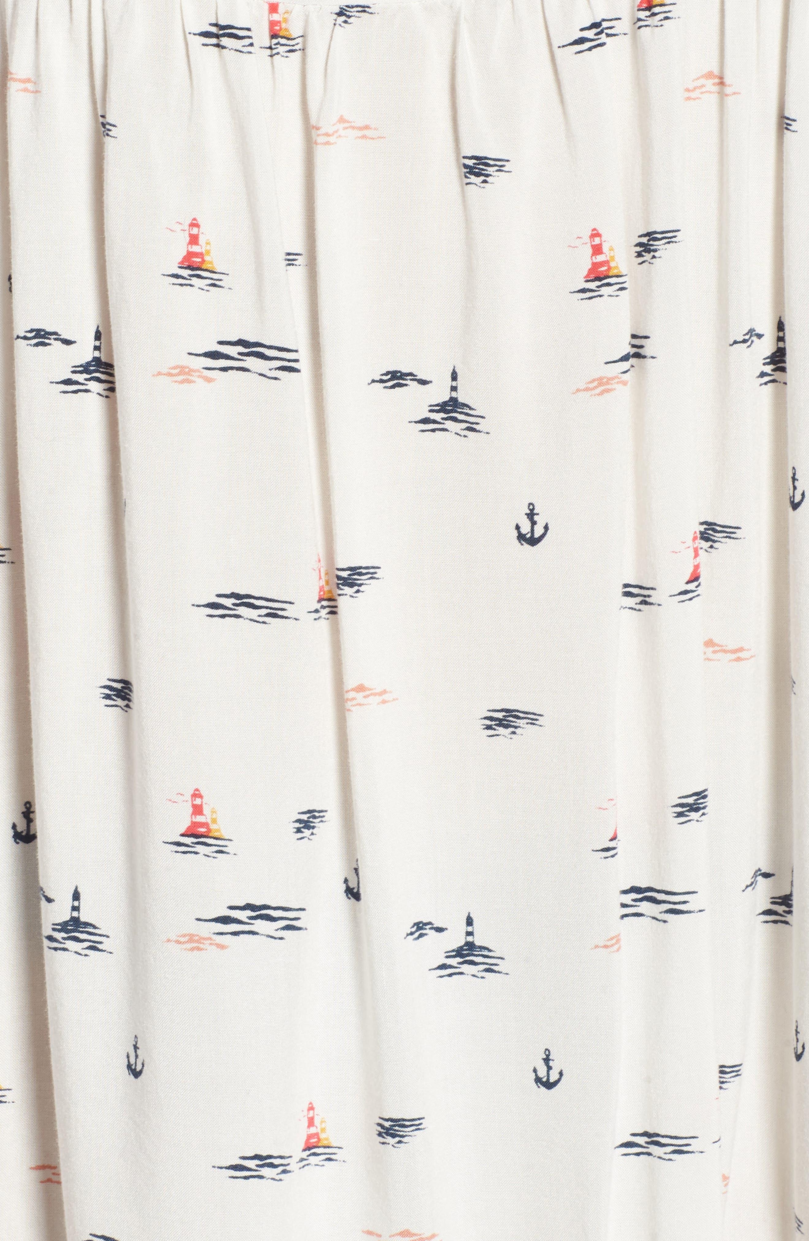 Tropical Sundance Print Babydoll Dress,                             Alternate thumbnail 6, color,                             Marshmallow Bay Cruise