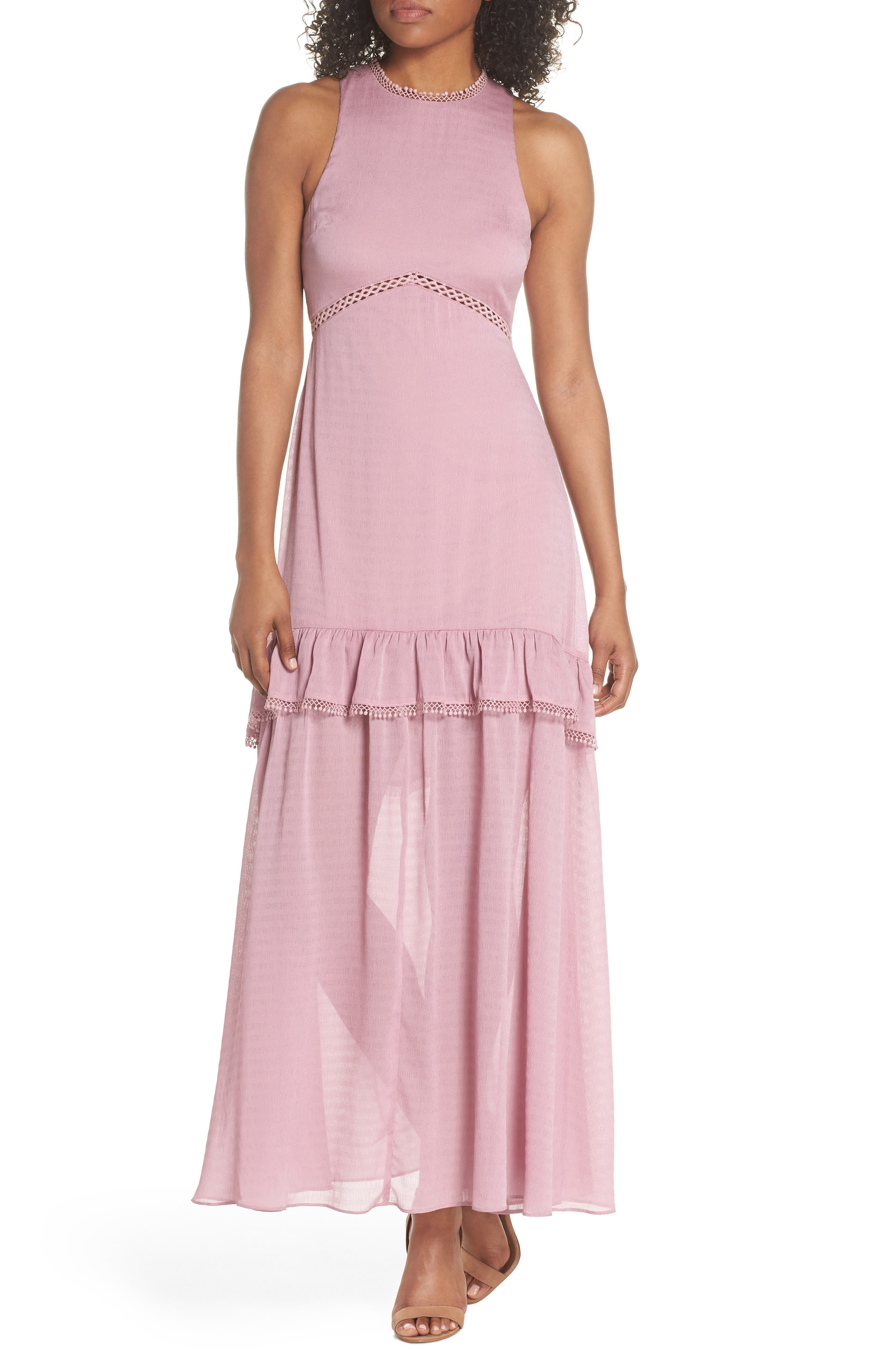 NSR Sleeveless Ruffle Maxi Dress