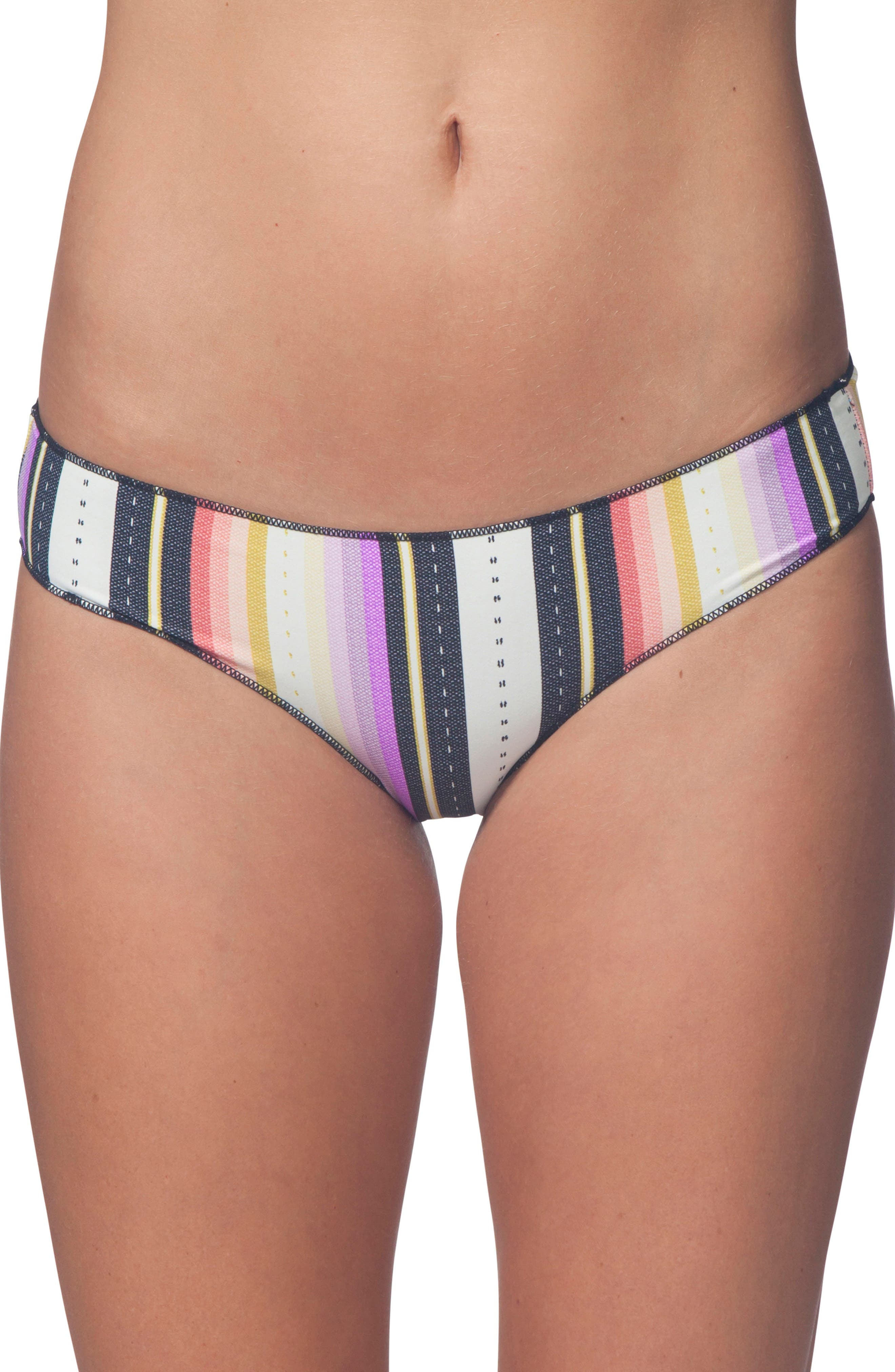 Sayulita Stripe Hipster Bikini Bottoms,                         Main,                         color, White Multi
