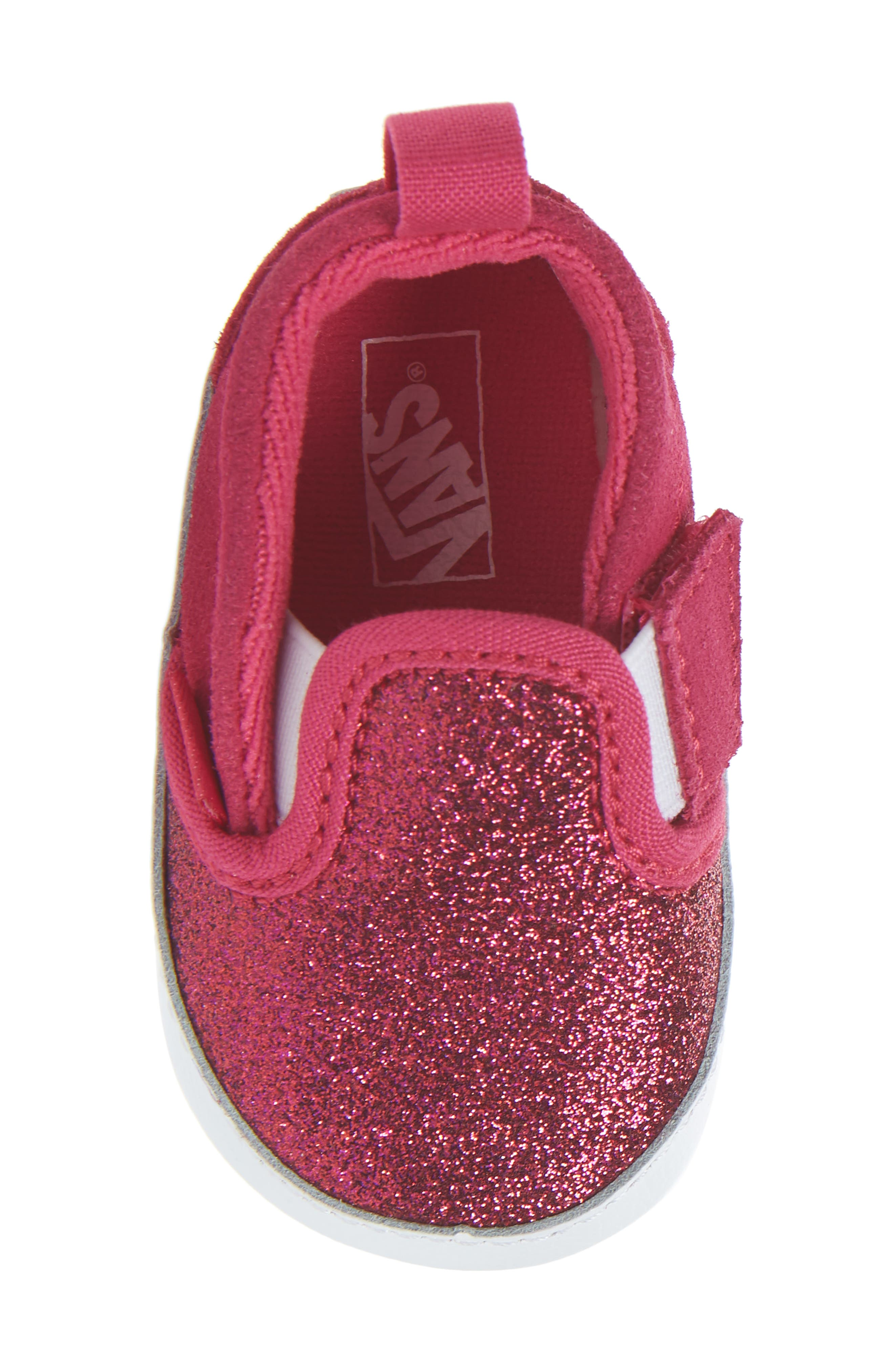 Glitter Crib Shoe,                             Alternate thumbnail 5, color,                             Rosy Glitter