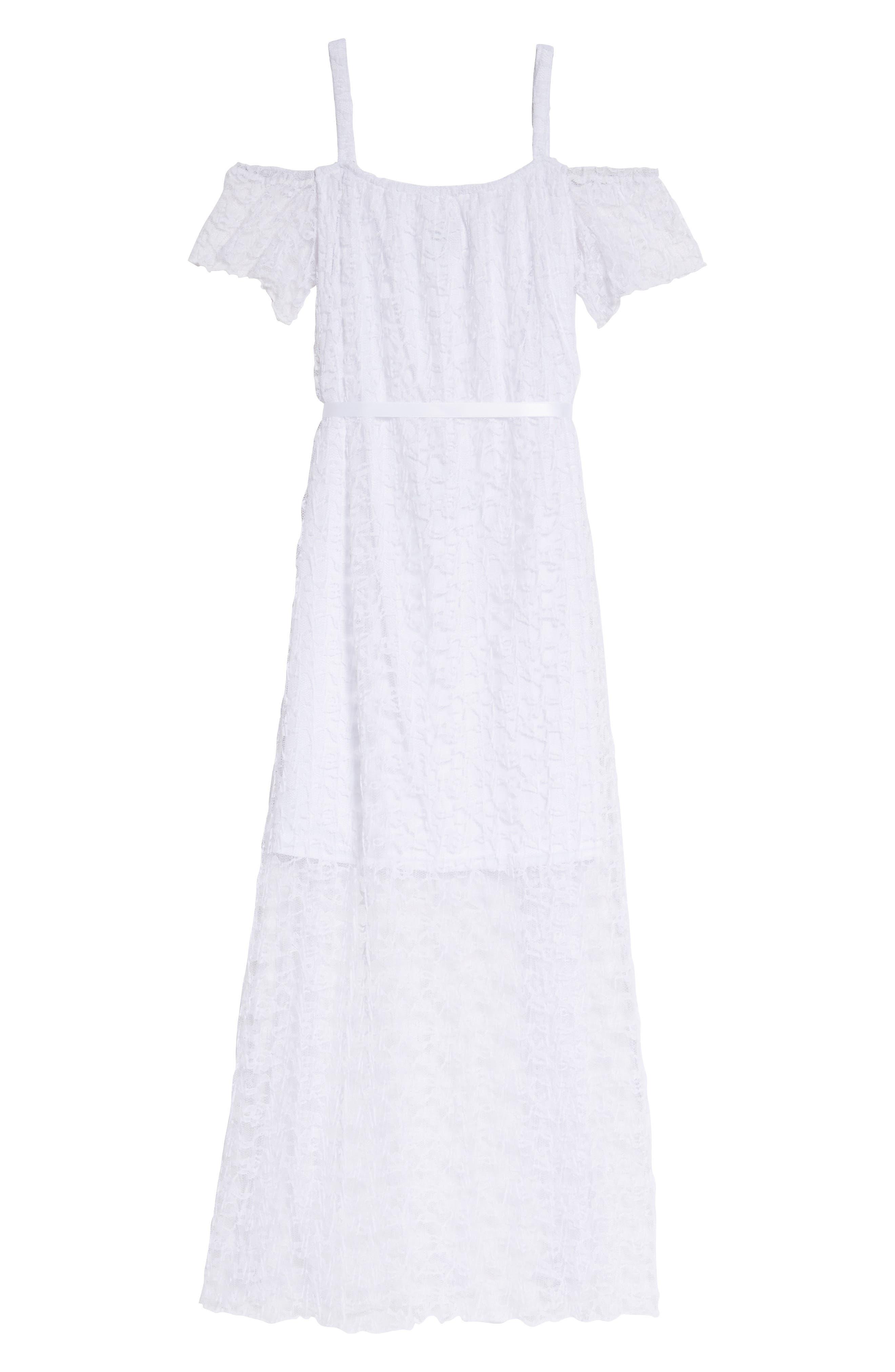 Alternate Image 1 Selected - BLUSH by Us Angels Lace Cold Shoulder Maxi Dress (Big Girls)