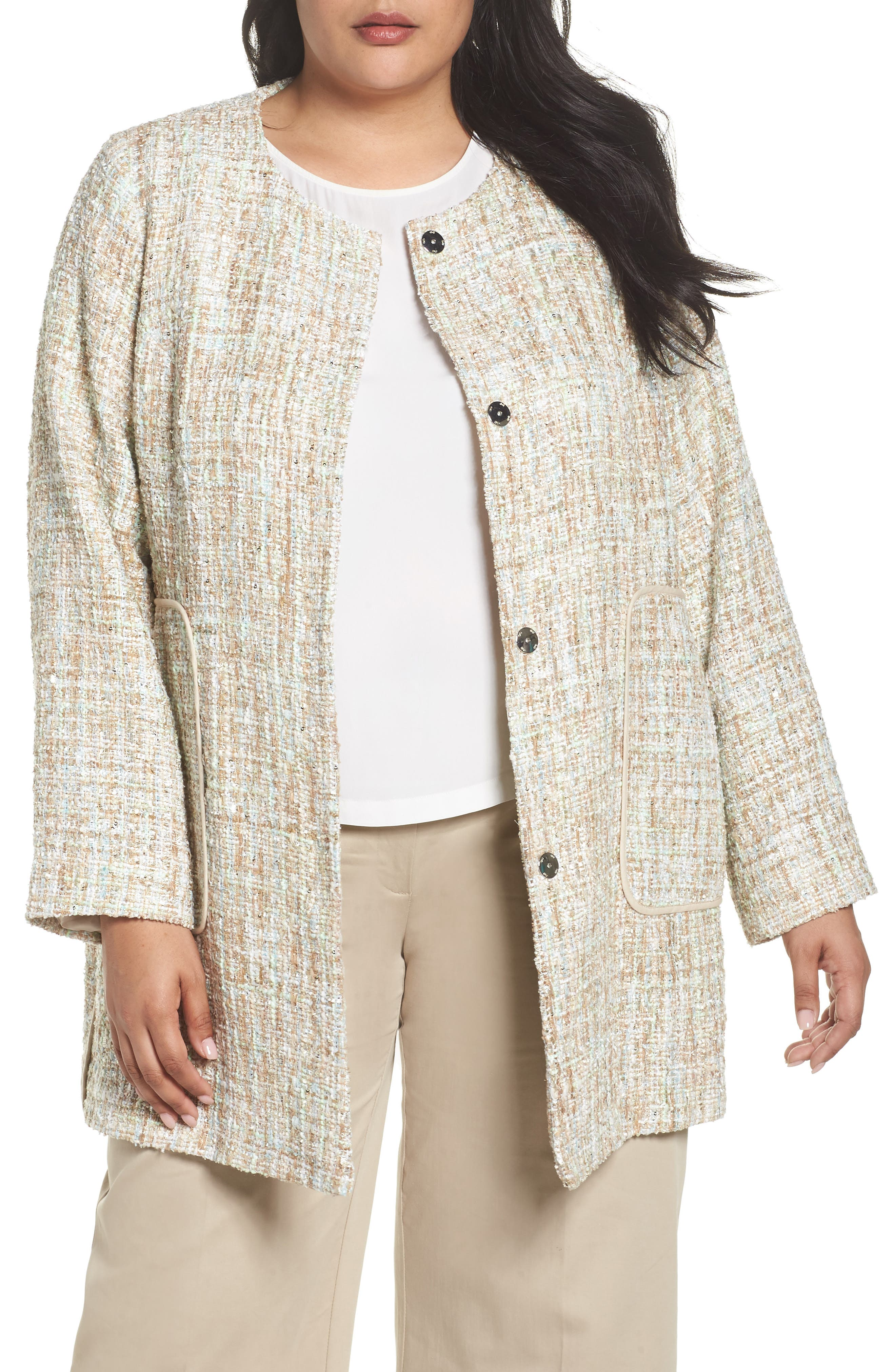 Metallic Tweed Jacket,                             Main thumbnail 1, color,                             White