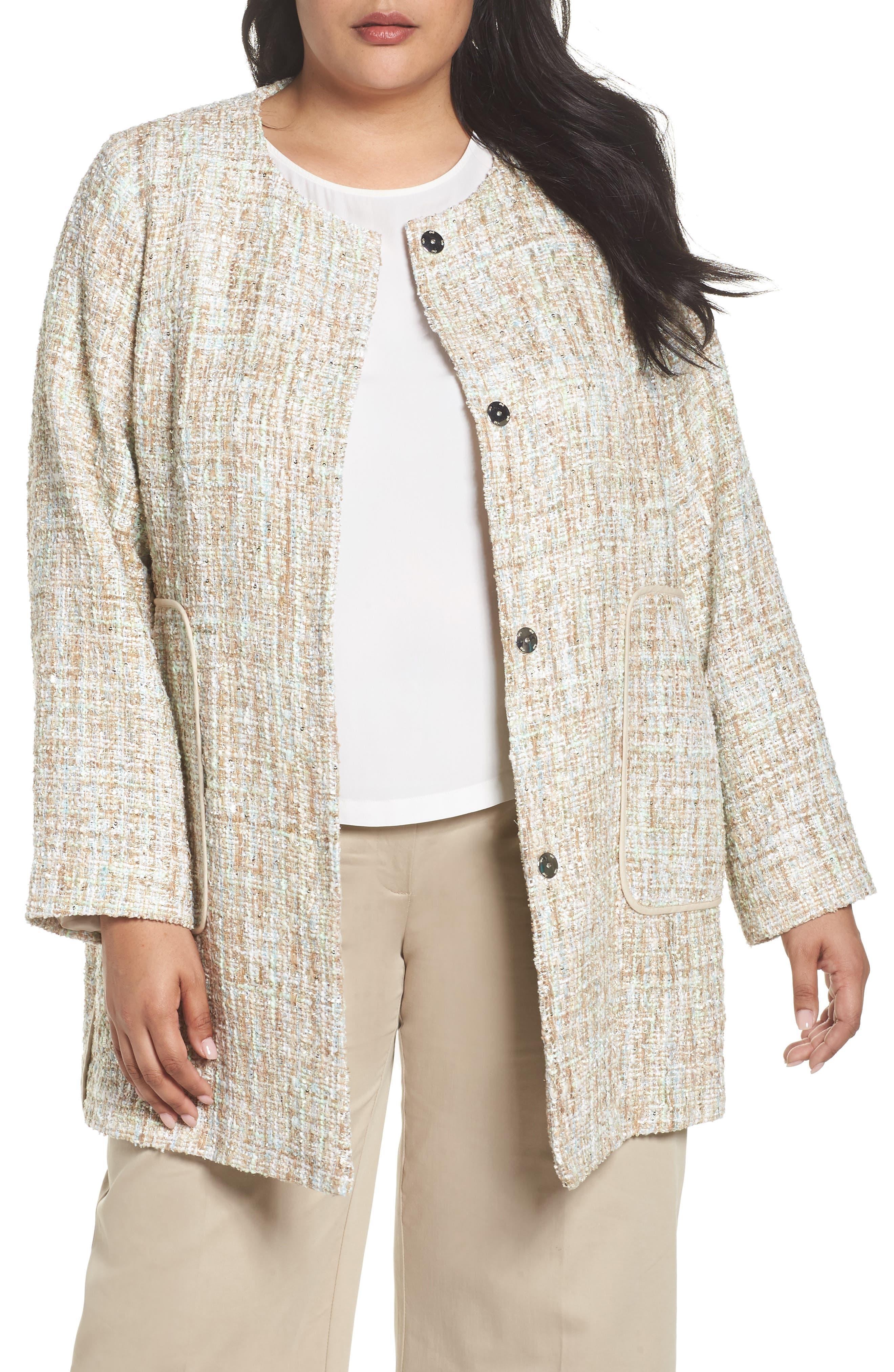 Metallic Tweed Jacket,                         Main,                         color, White
