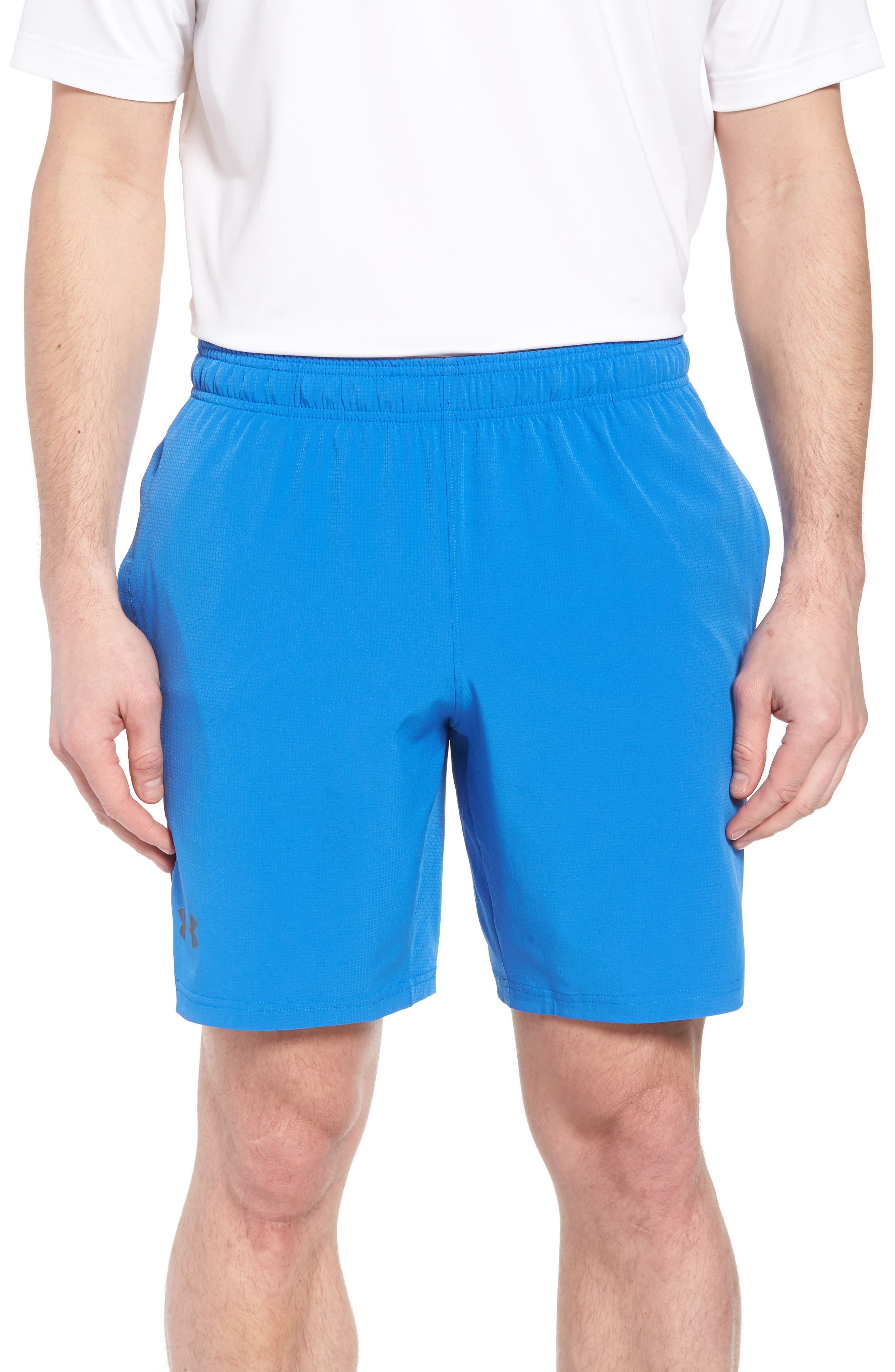 Regular Fit Cage Shorts,                             Main thumbnail 1, color,                             Mediterranean/ Graphite