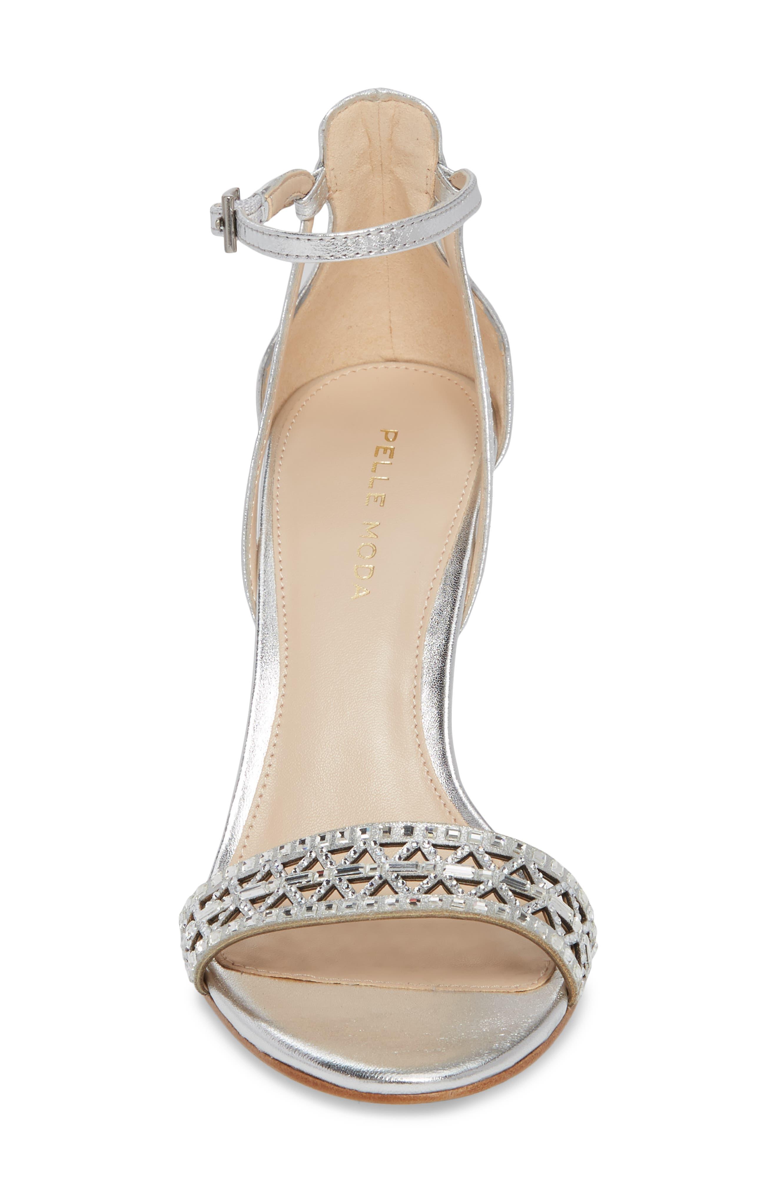 Karmina Embellished Sandal,                             Alternate thumbnail 4, color,                             Silver Leather