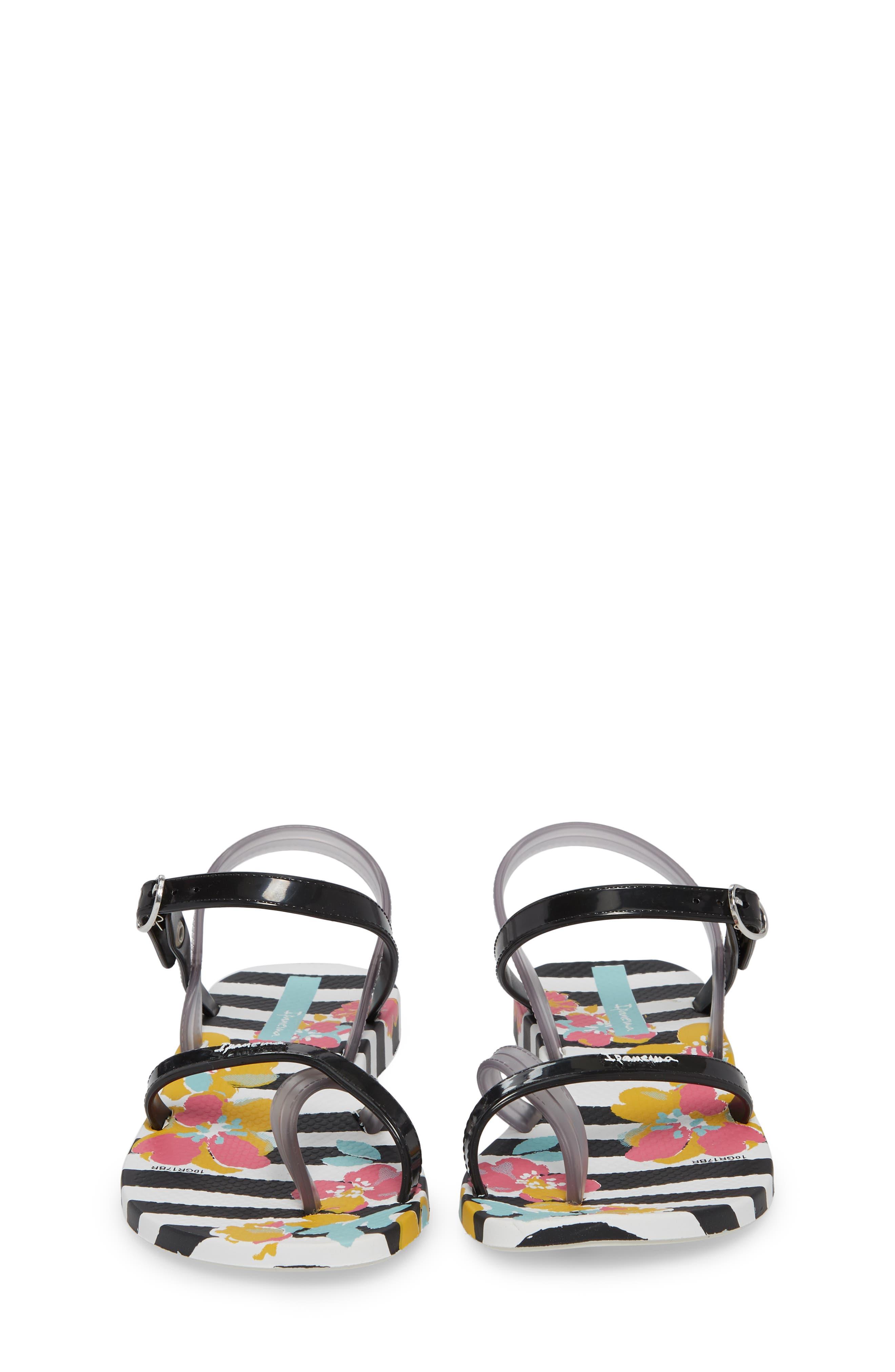 Toe Loop Sandal,                             Alternate thumbnail 5, color,                             White/ Black