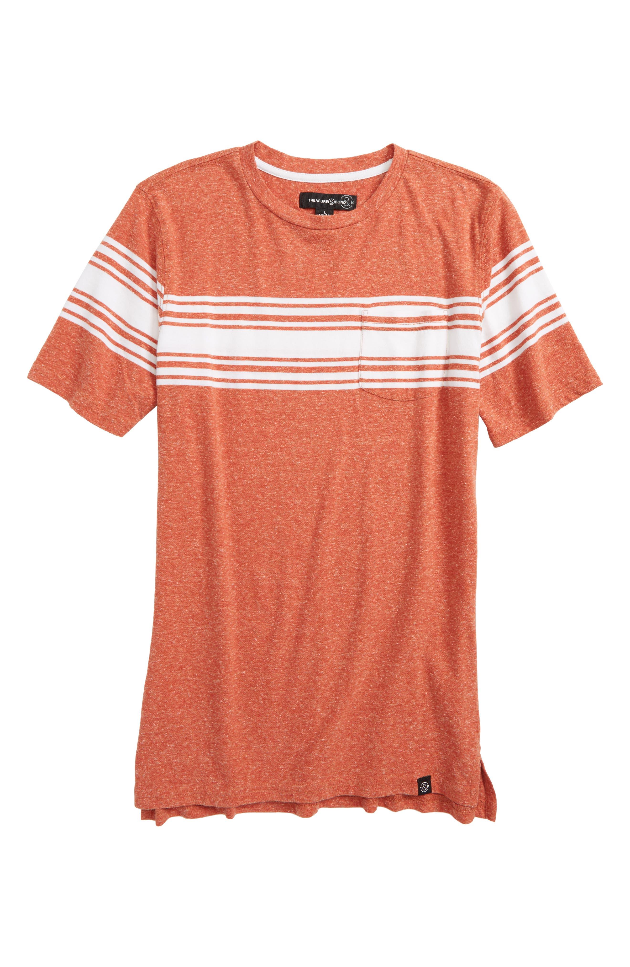 Stripe T-Shirt,                         Main,                         color, Rust Marsala Heather- White