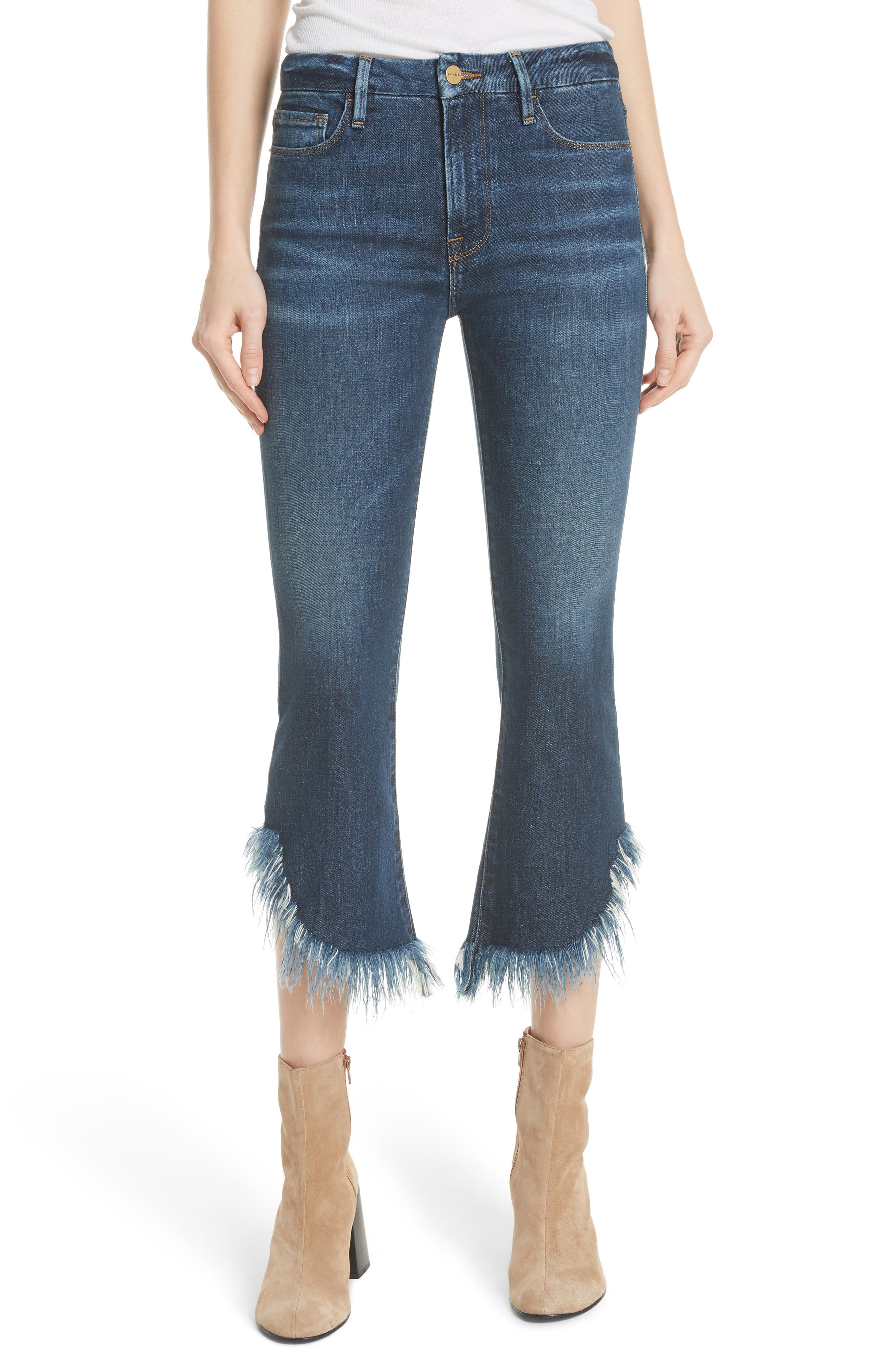 Le Crop Mini Boot Shredded Crop Hem Jeans,                         Main,                         color, Bayberry