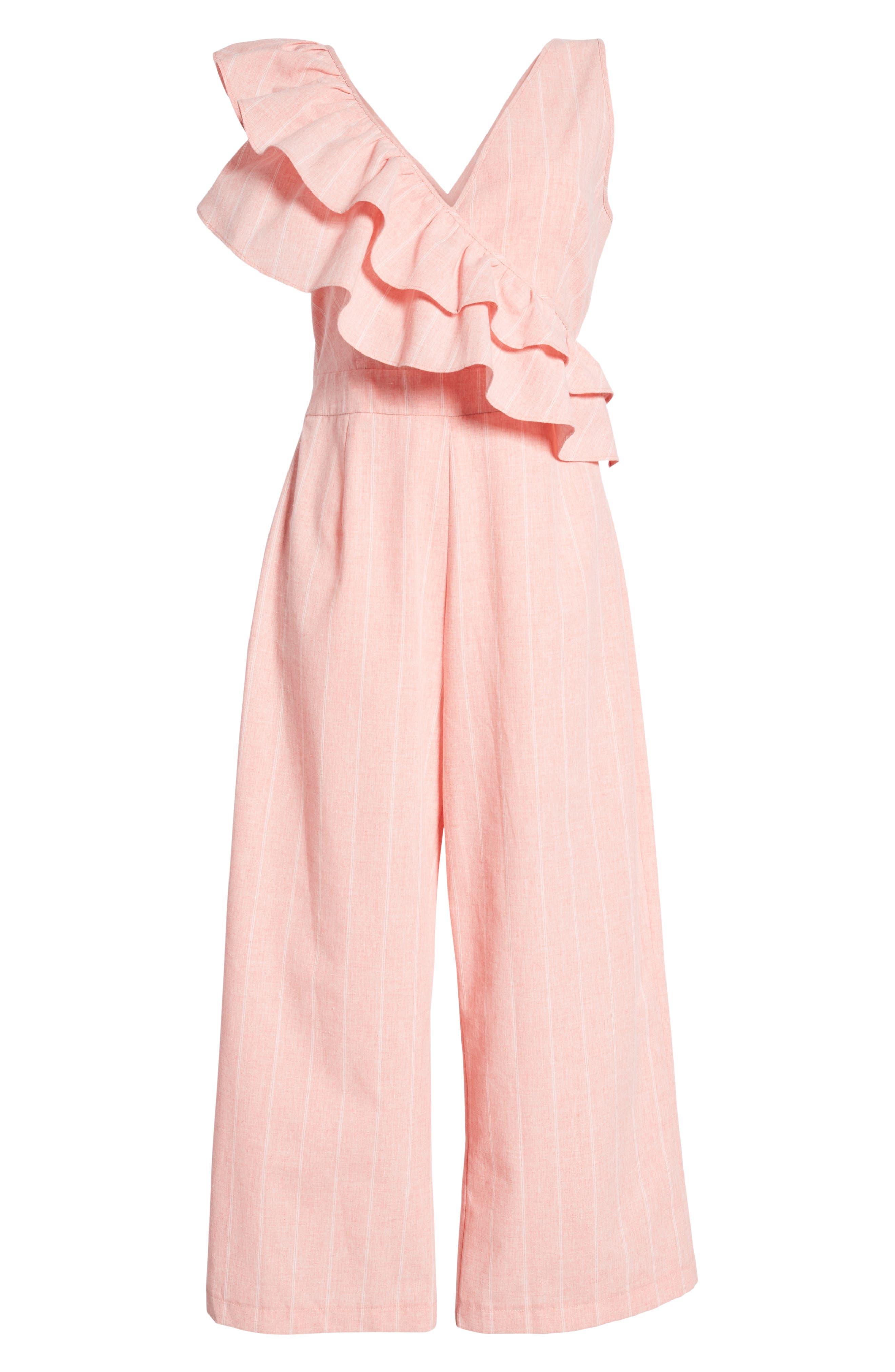 Frill Shoulder Stripe Jumpsuit,                             Alternate thumbnail 8, color,                             Pink