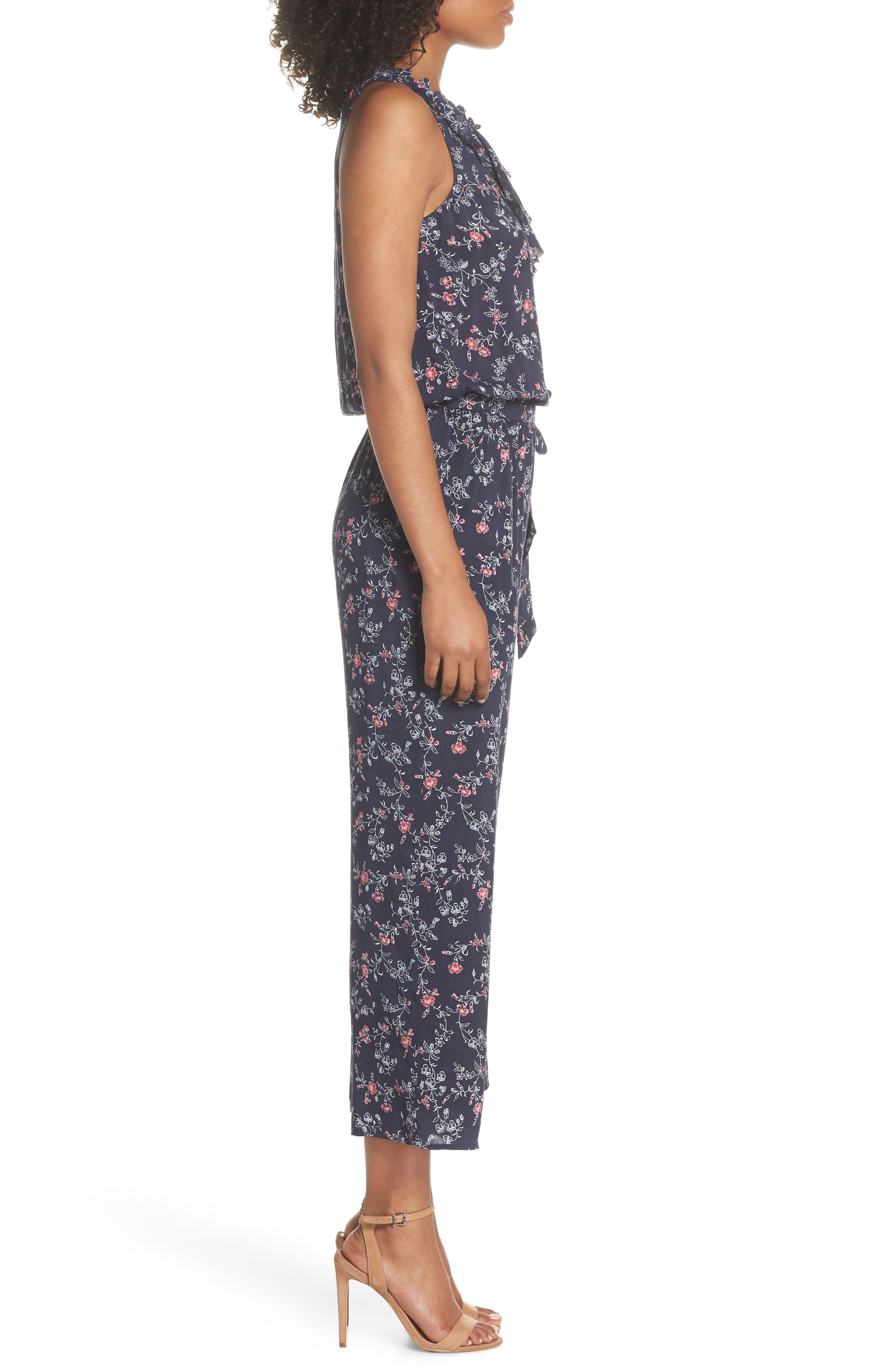 Paletta Floral Print Crop Jumpsuit,                             Alternate thumbnail 3, color,                             Dark Ink Blue