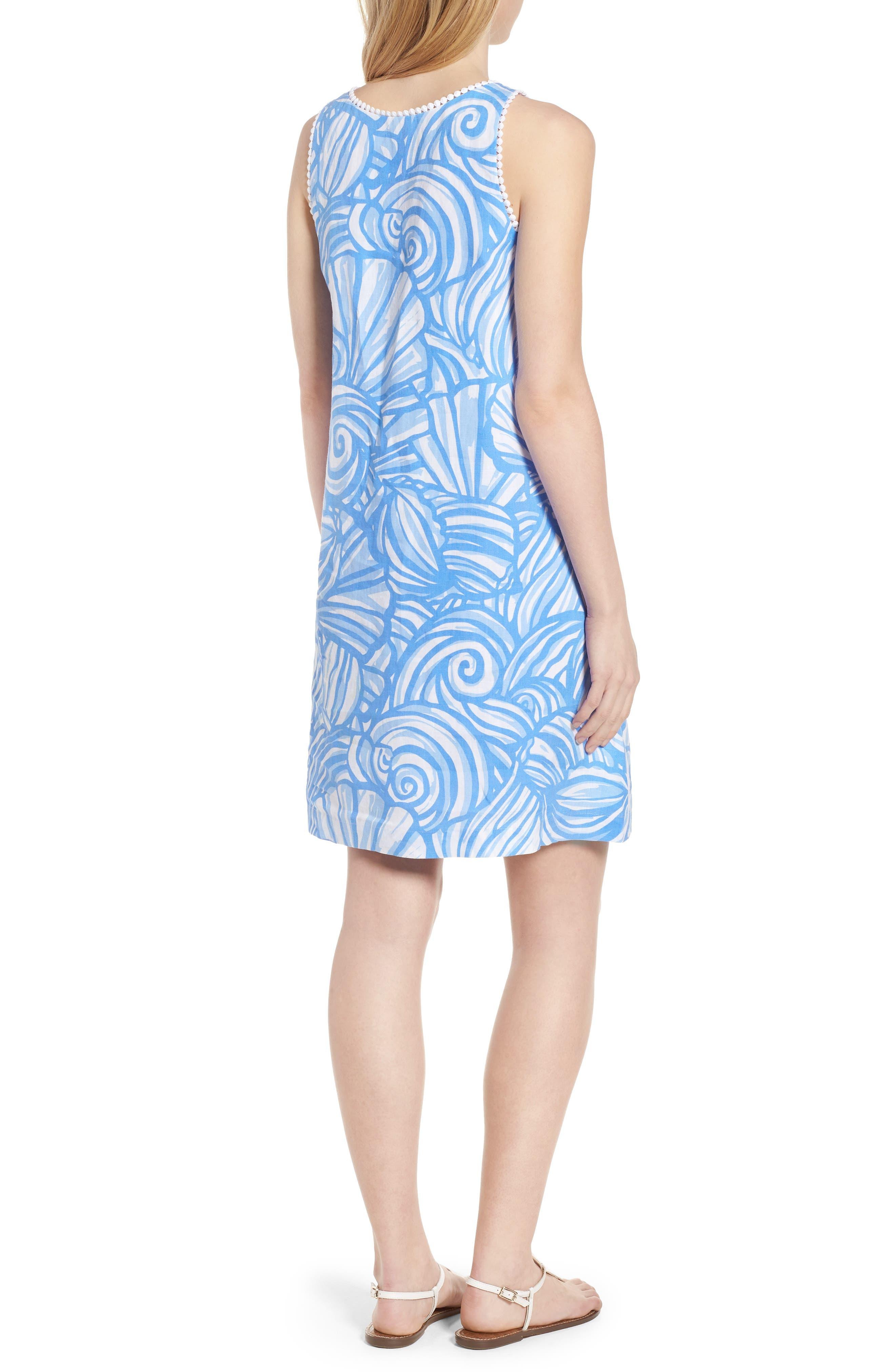 Nautilus Print Shift Dress,                             Alternate thumbnail 2, color,                             Cornflower