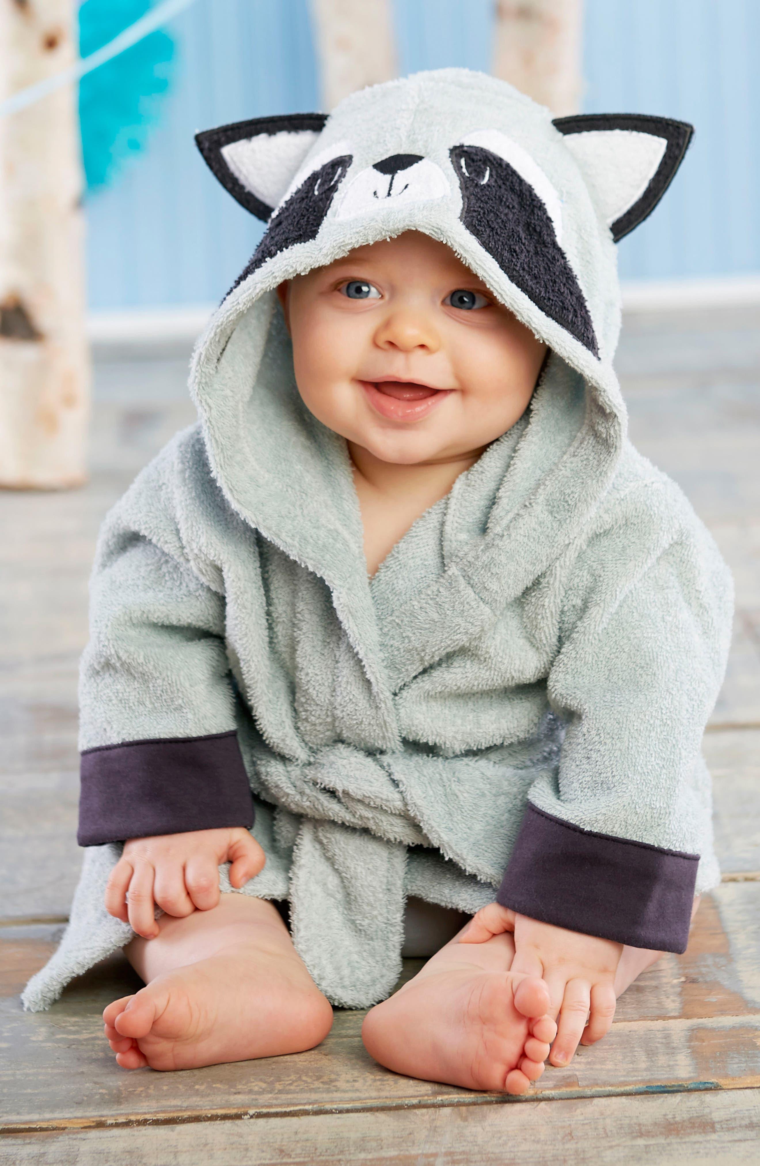 Alternate Image 3  - Baby Aspen Forest Friends Raccoon Plush Robe, Fuzzy Socks, Stuffed Animal & Rattle Set (Baby)