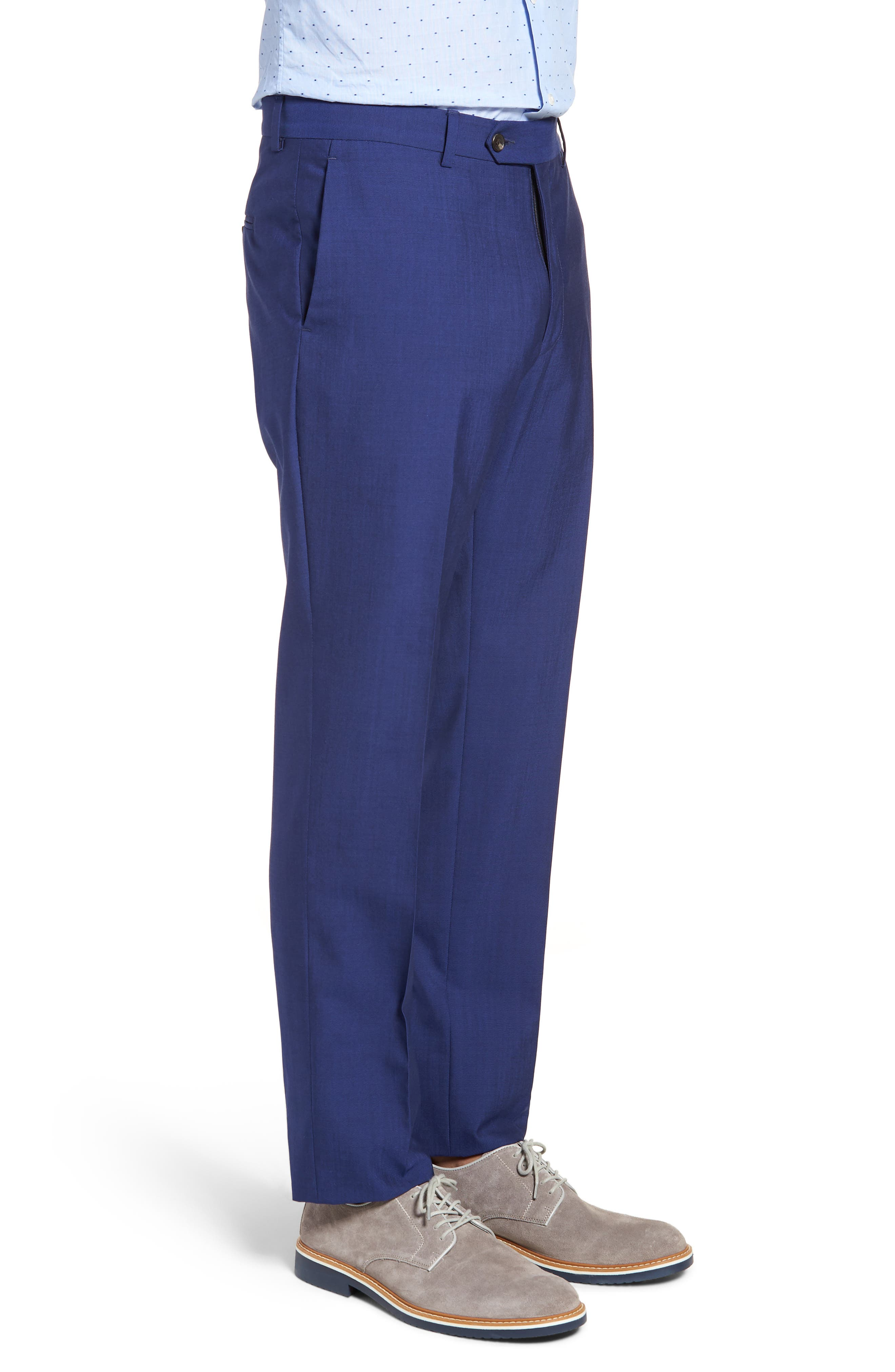 Dagger Flat Front Solid Wool Trousers,                             Alternate thumbnail 3, color,                             High Blue