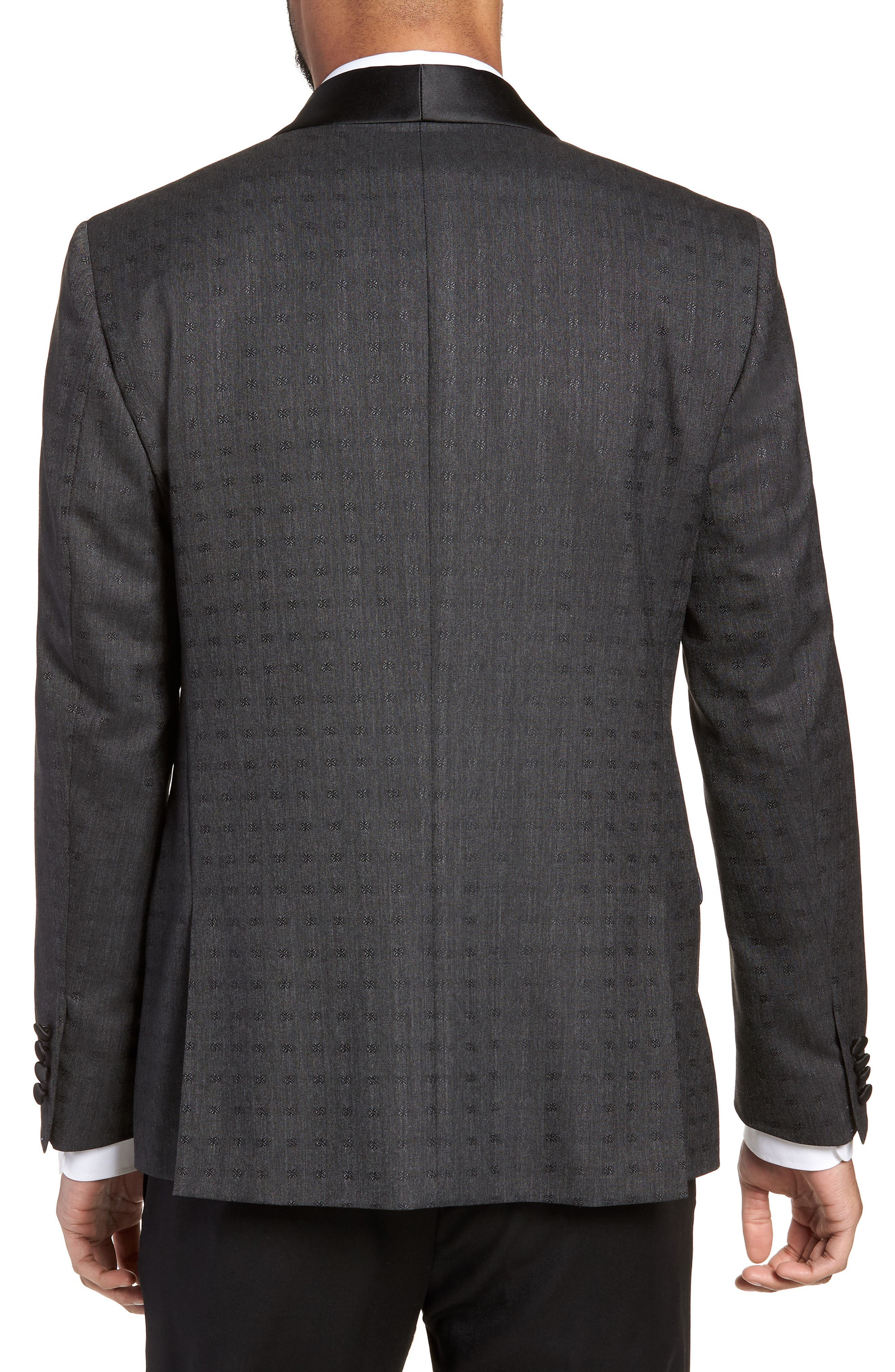 Morgan Trim Fit Wool Dinner Jacket,                             Alternate thumbnail 2, color,                             Charcoal Dobby