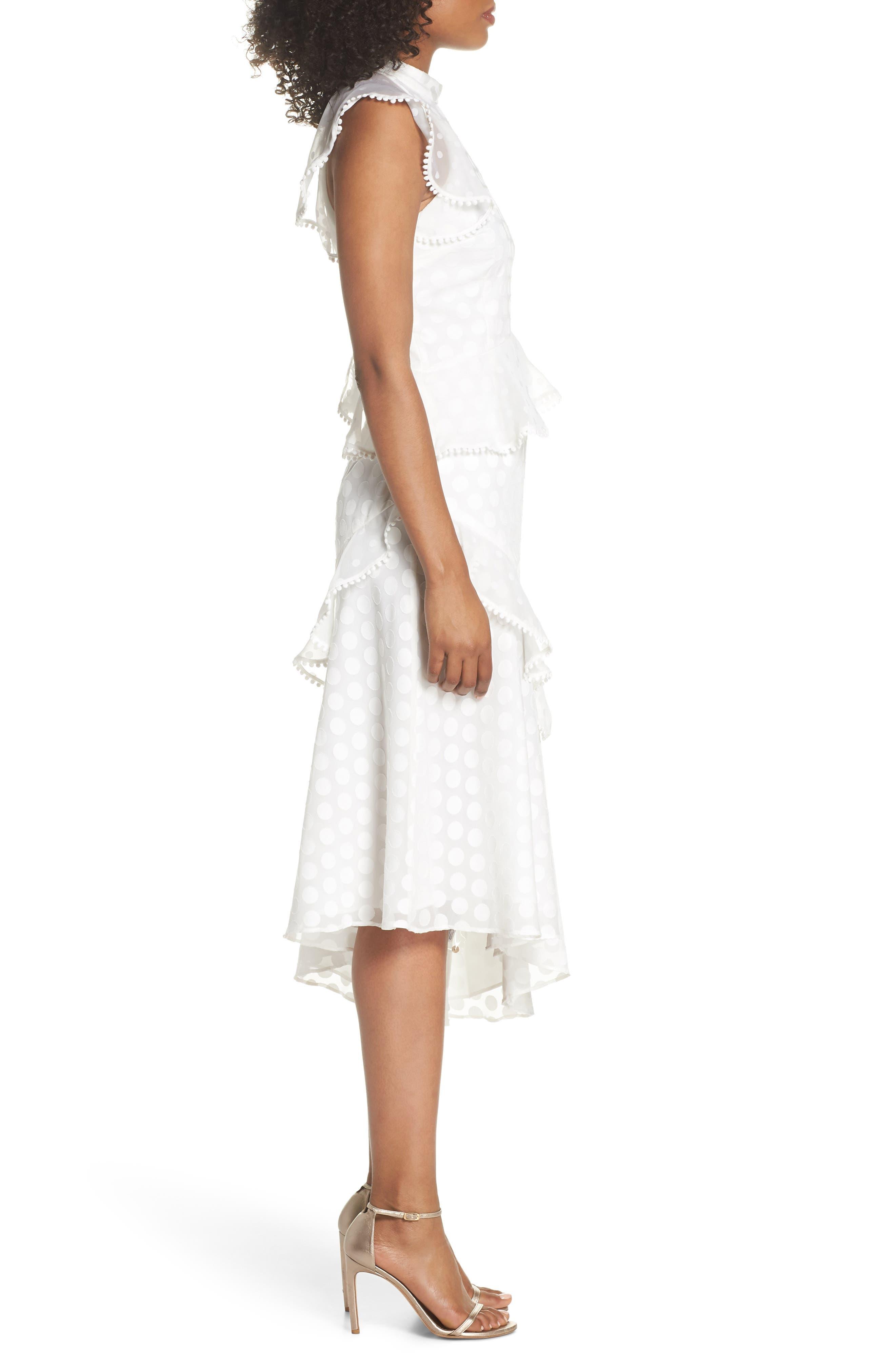 See You Now Polka Dot Midi Dress,                             Alternate thumbnail 3, color,                             Ivory