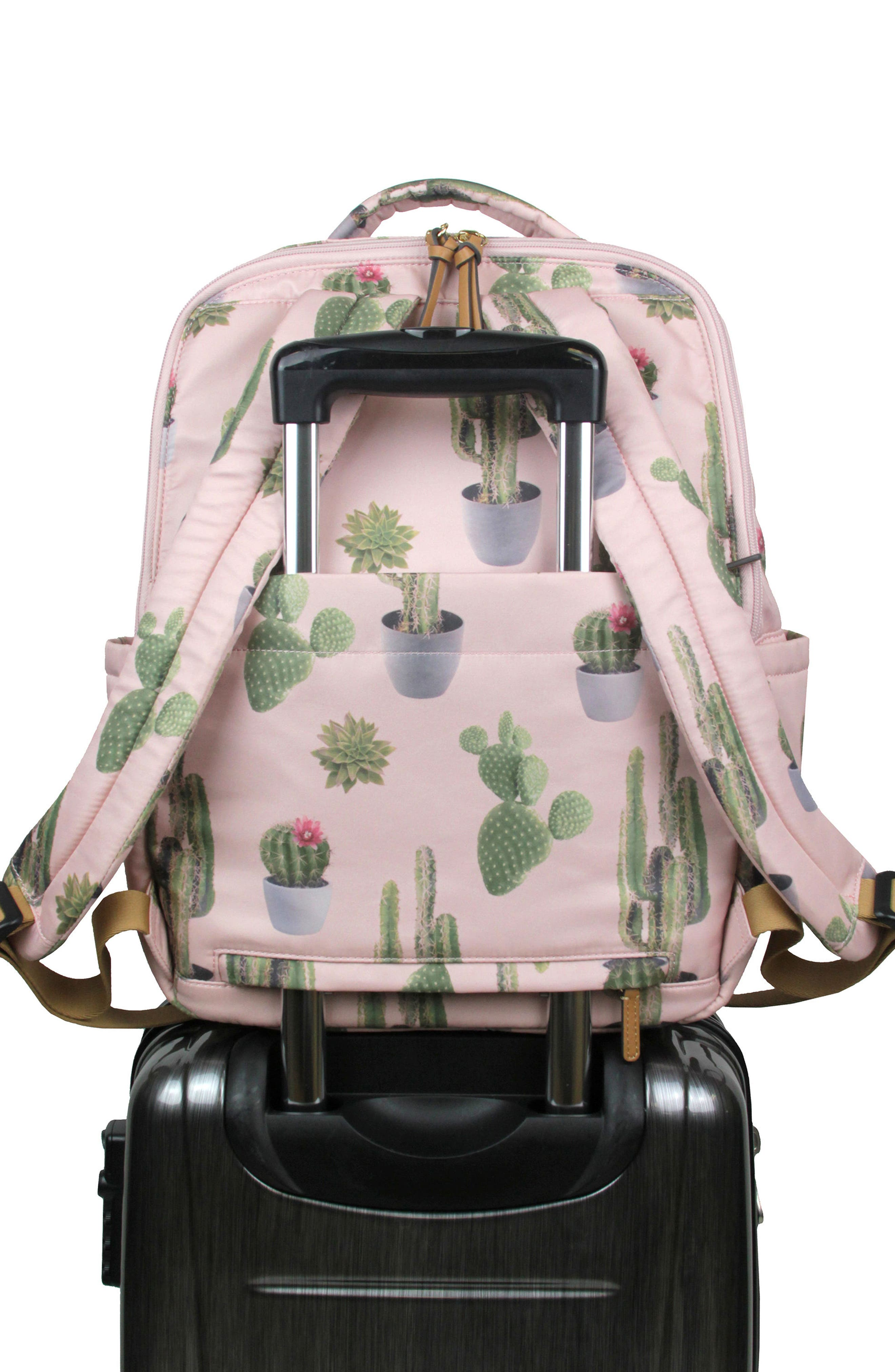 On-the-Go Water Resistant Diaper Backpack,                             Alternate thumbnail 3, color,                             Cactus