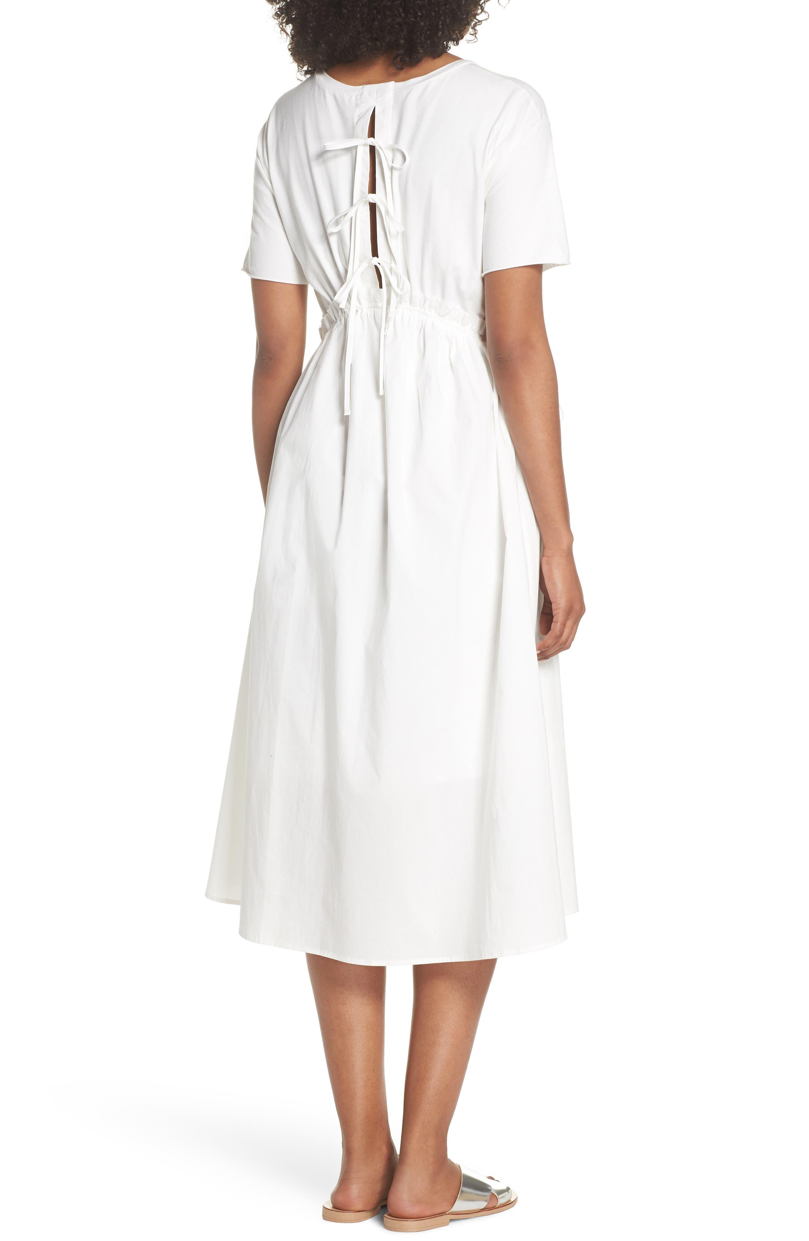 Tie Back Midi Dress,                             Alternate thumbnail 2, color,                             White
