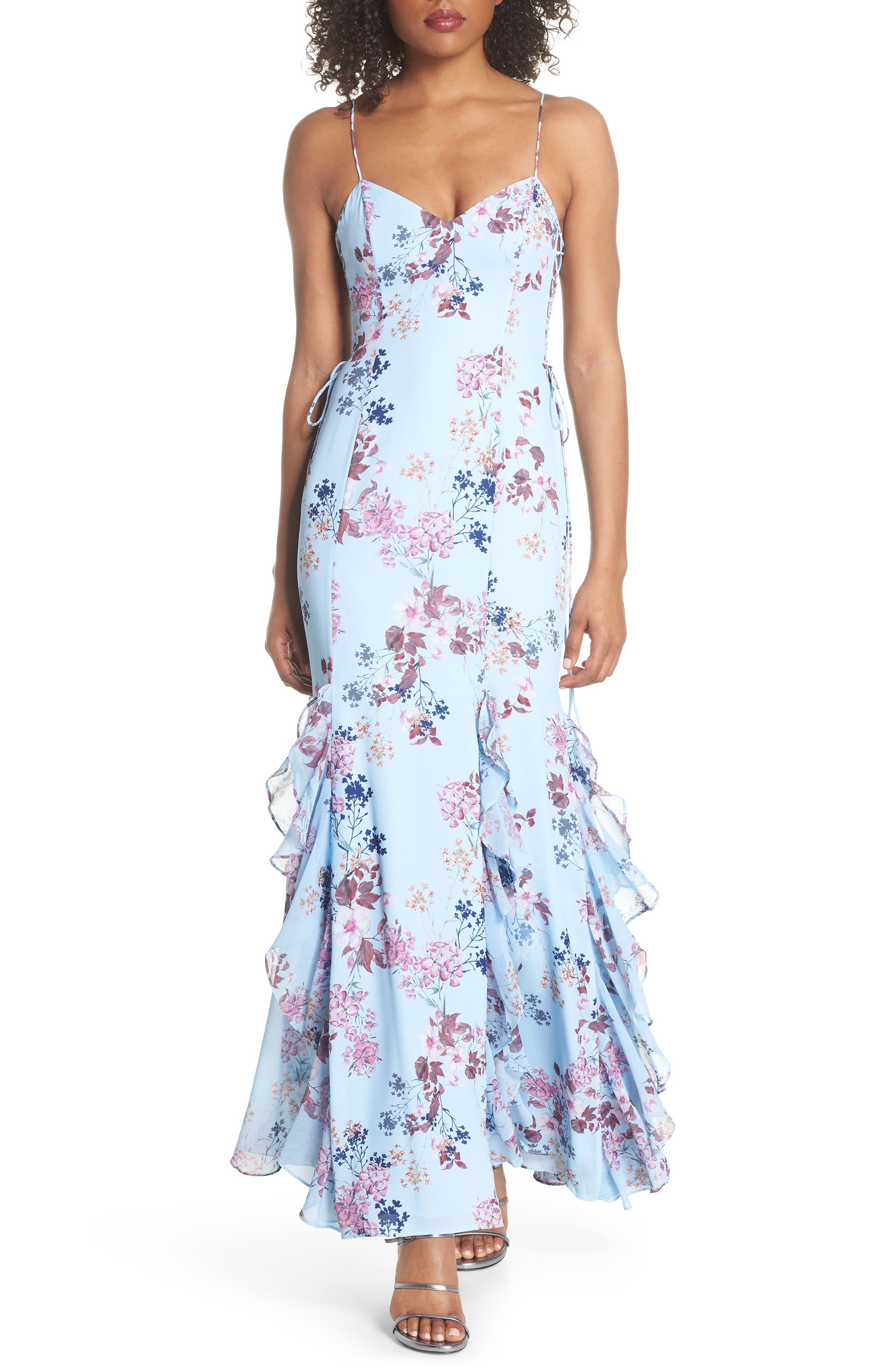 Anna Lace-Up Trumpet Gown,                             Main thumbnail 1, color,                             Rustic Floral