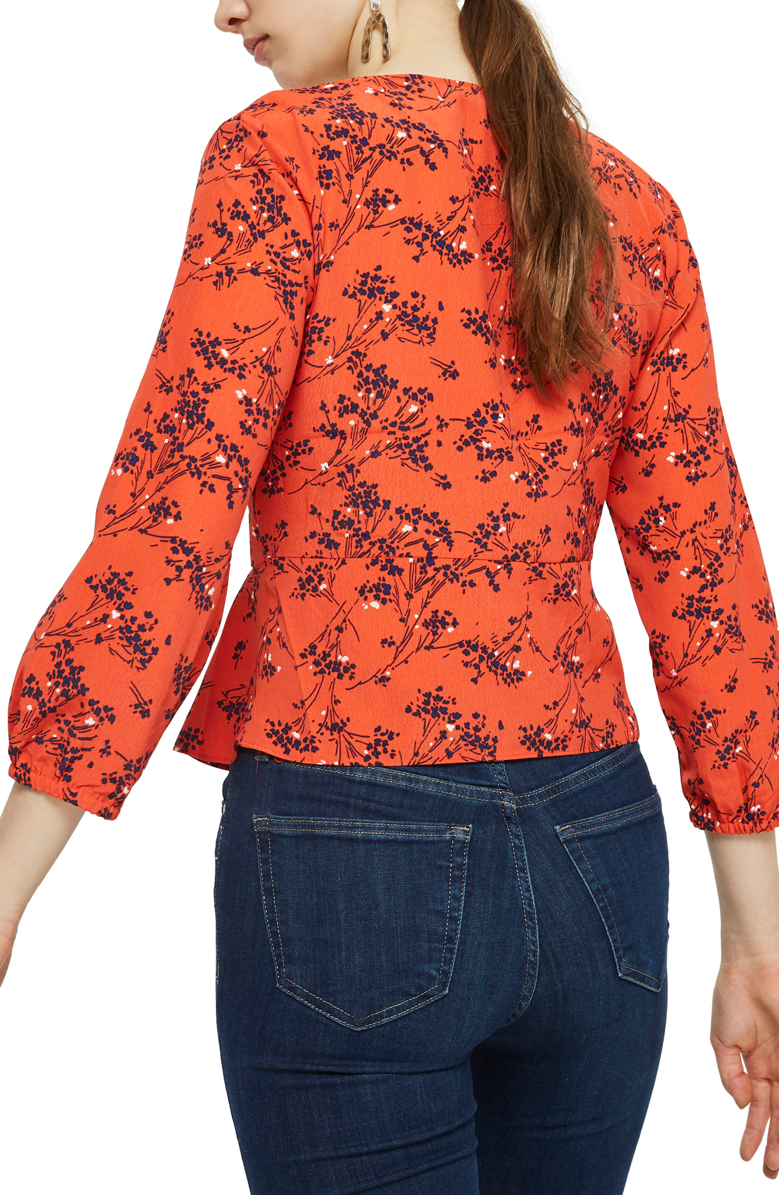 Betty Floral Print Keyhole Blouse,                             Alternate thumbnail 3, color,                             Red Multi