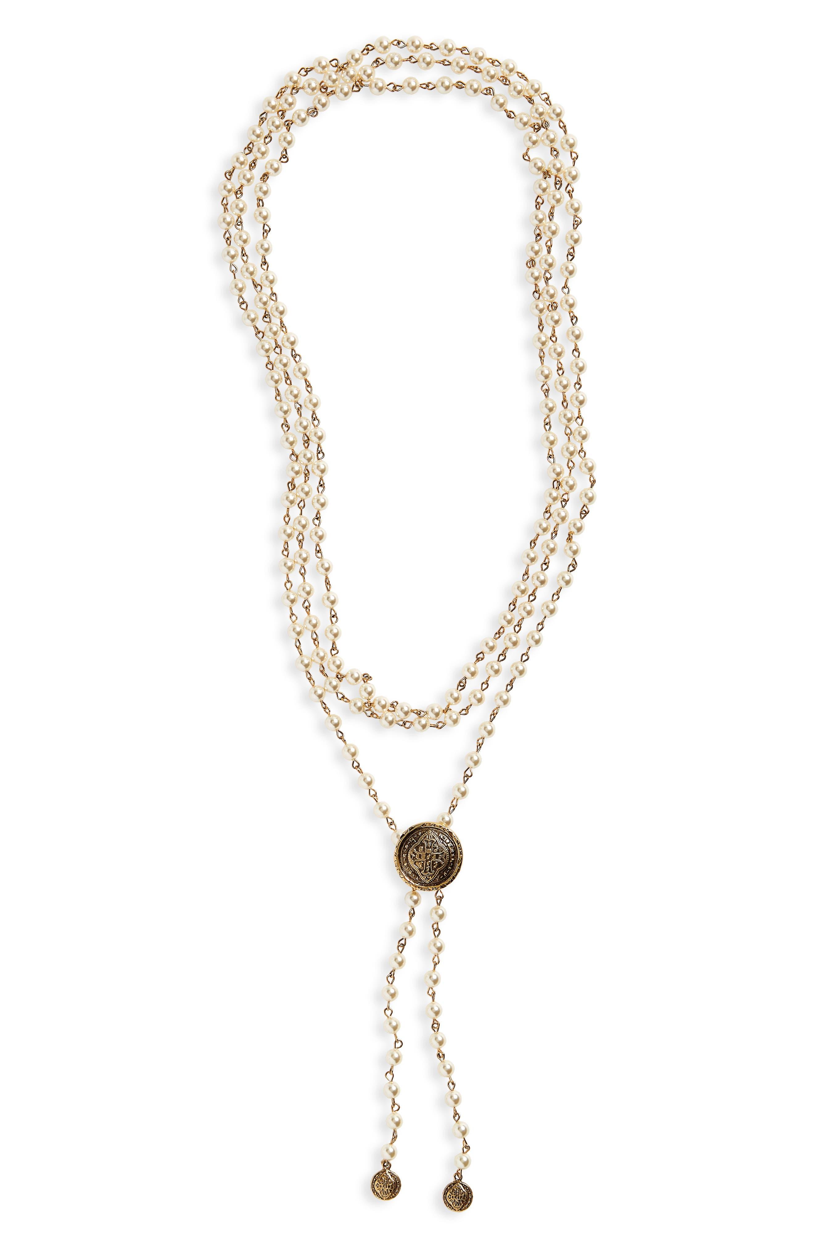 Flamenco Lariat Wrap Necklace,                             Main thumbnail 1, color,                             Cream/ Pearl
