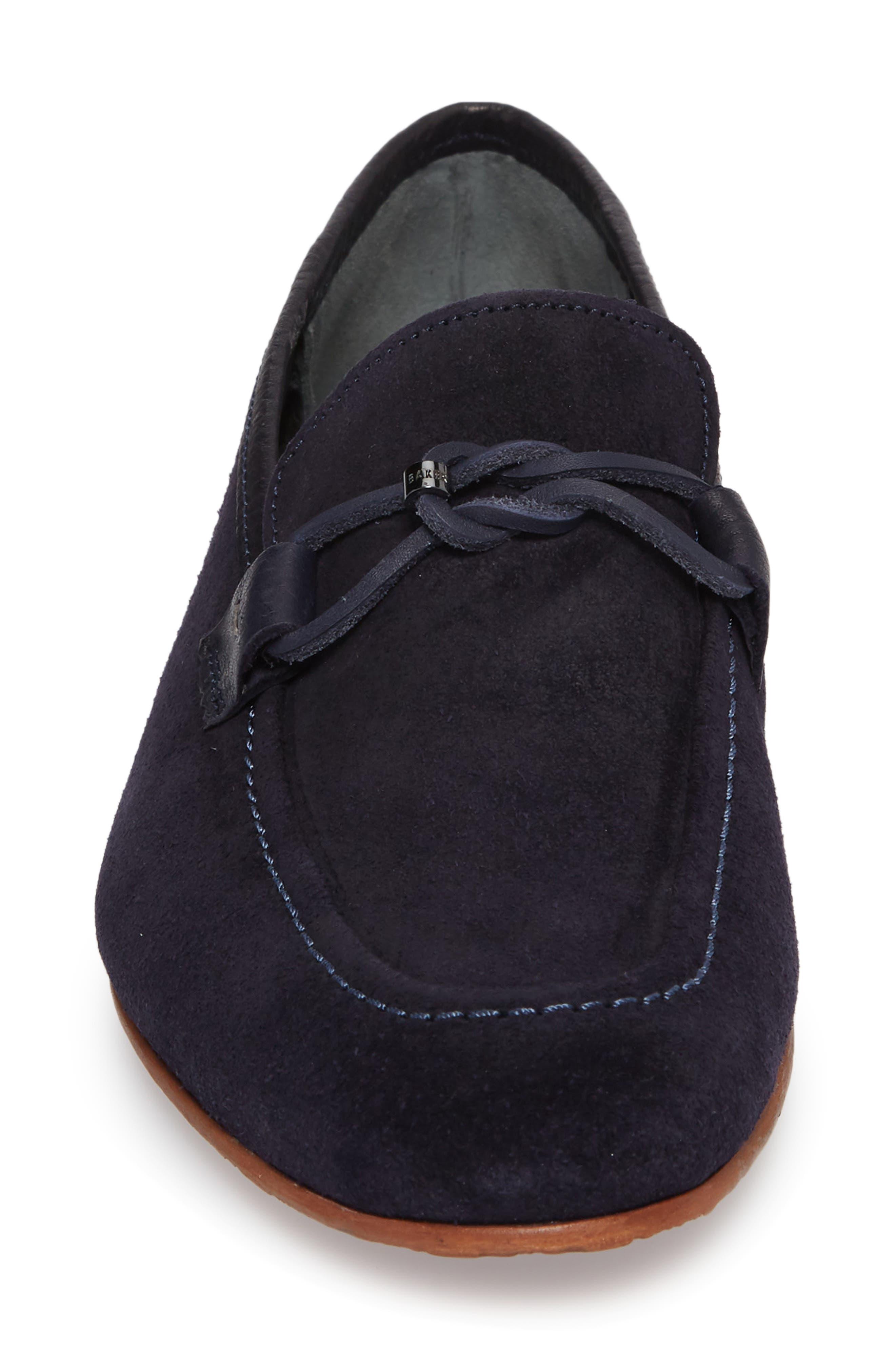 Hoppken Convertible Knotted Loafer,                             Alternate thumbnail 4, color,                             Dark Blue Suede