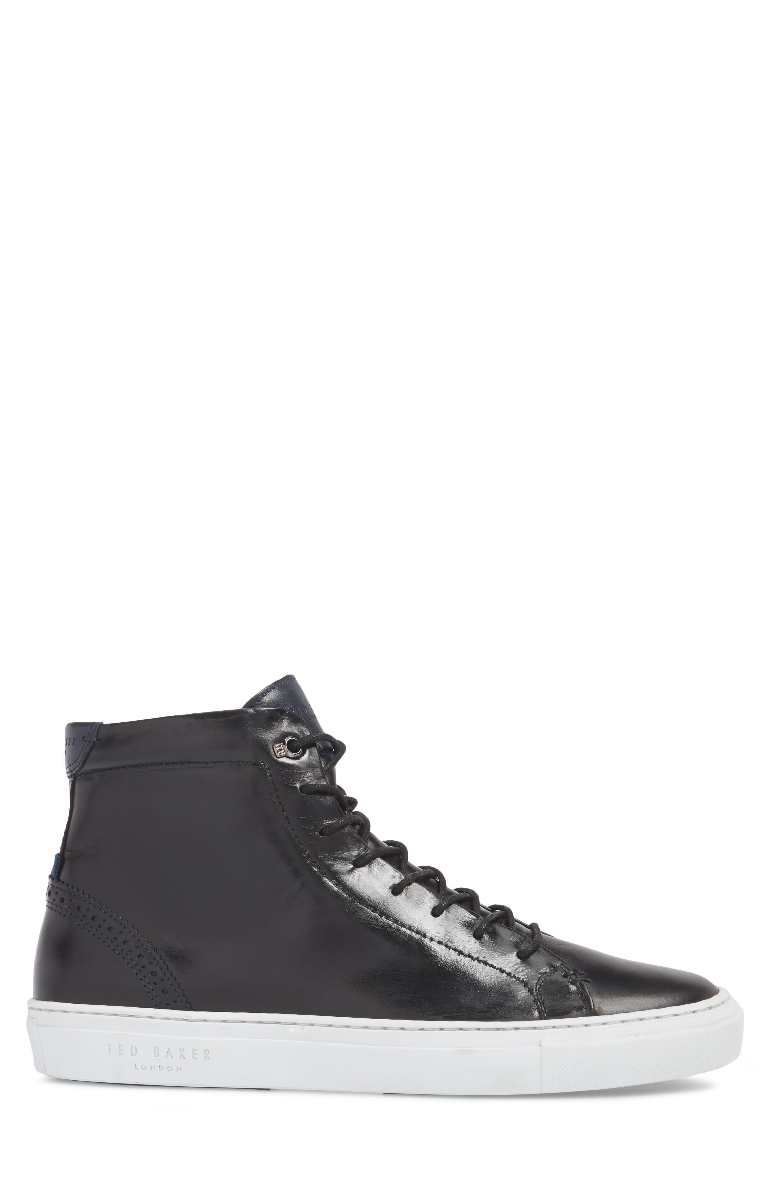 Monerkk High Top Sneaker,                             Alternate thumbnail 3, color,                             Black Leather