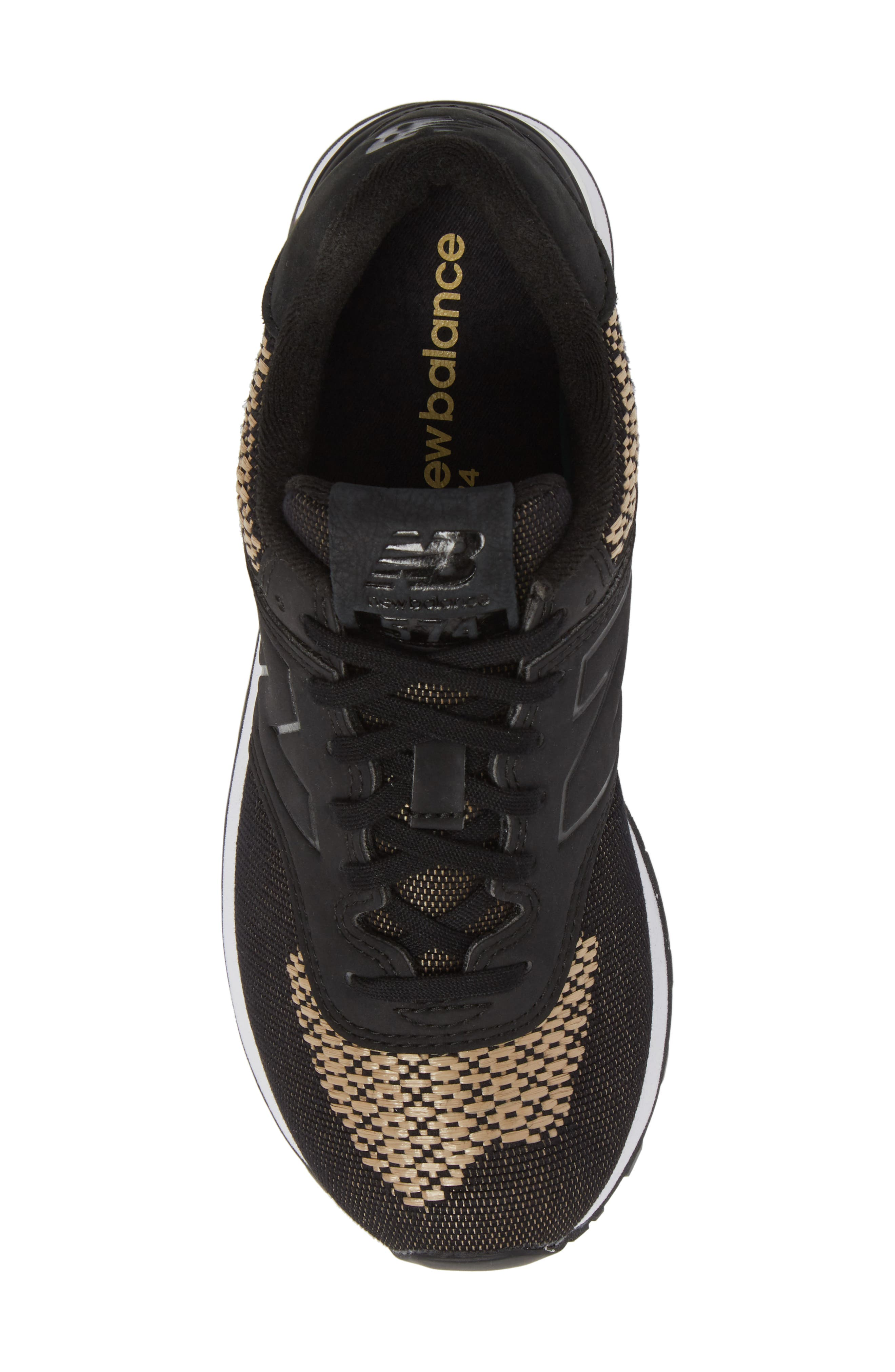 574 Tech Raffia Sneaker,                             Alternate thumbnail 5, color,                             Black