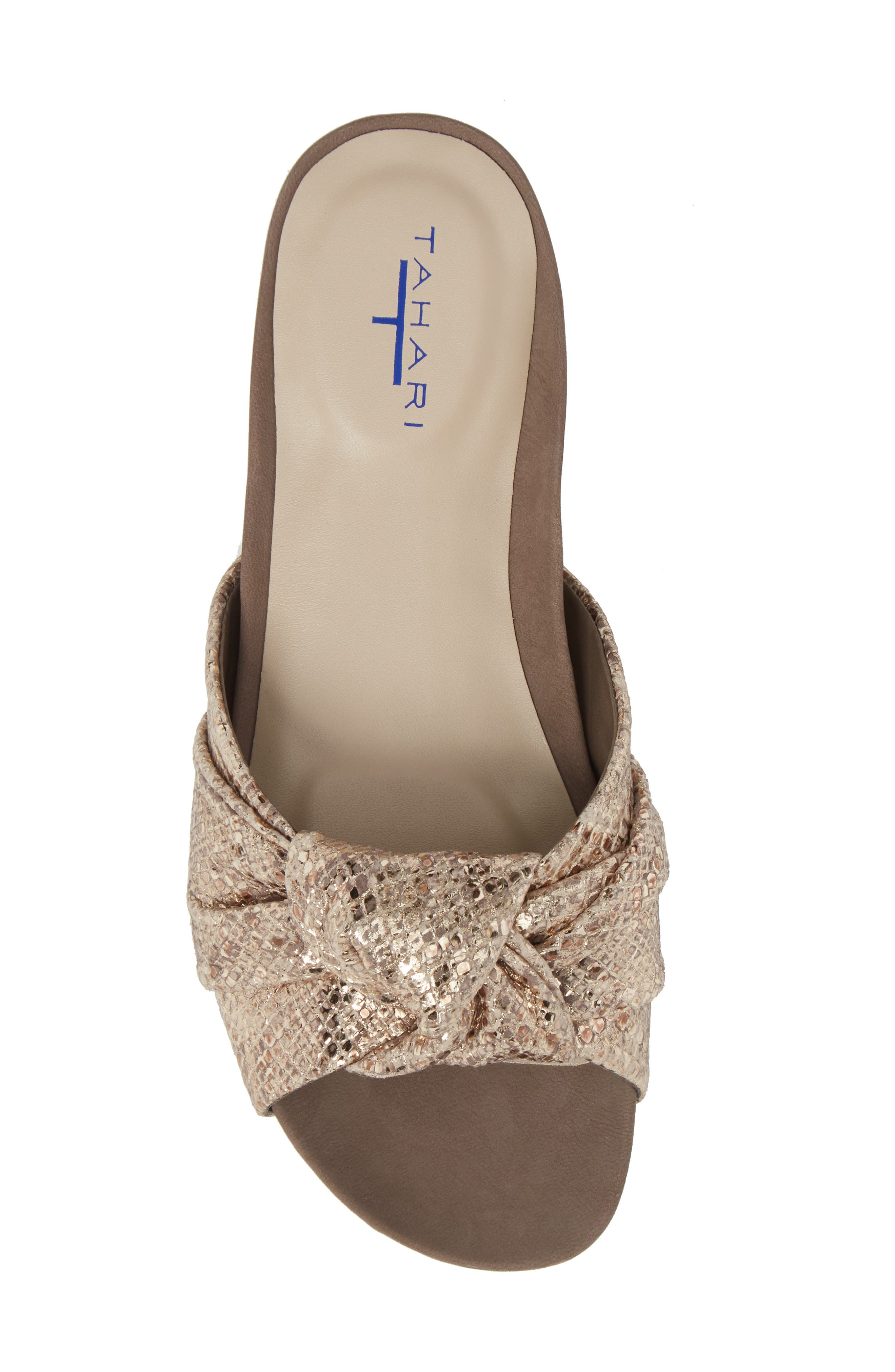 Lauren Slide Sandal,                             Alternate thumbnail 5, color,                             Taupe-Gold Suede