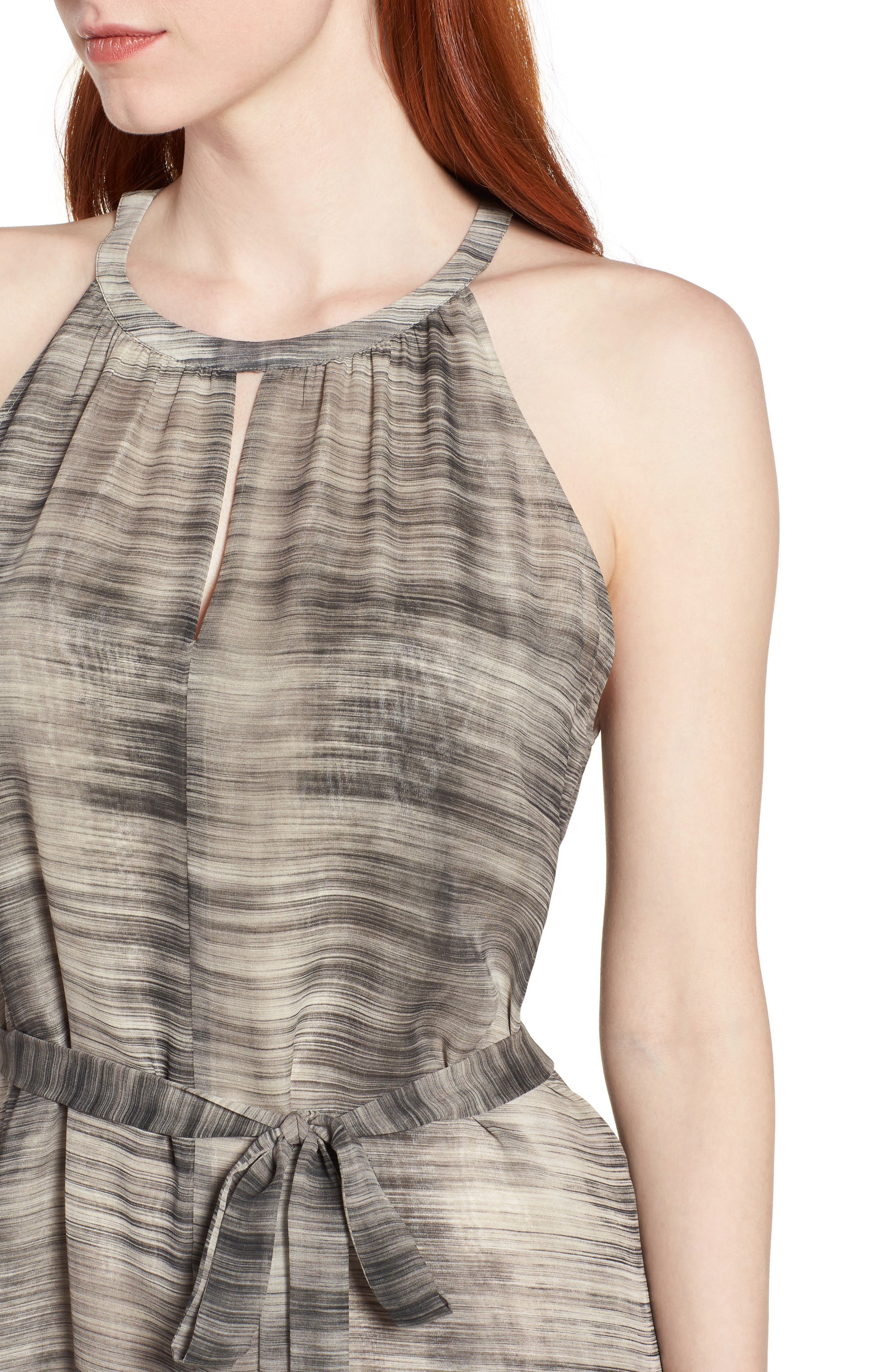 Silk Midi Dress,                             Alternate thumbnail 4, color,                             Limestone