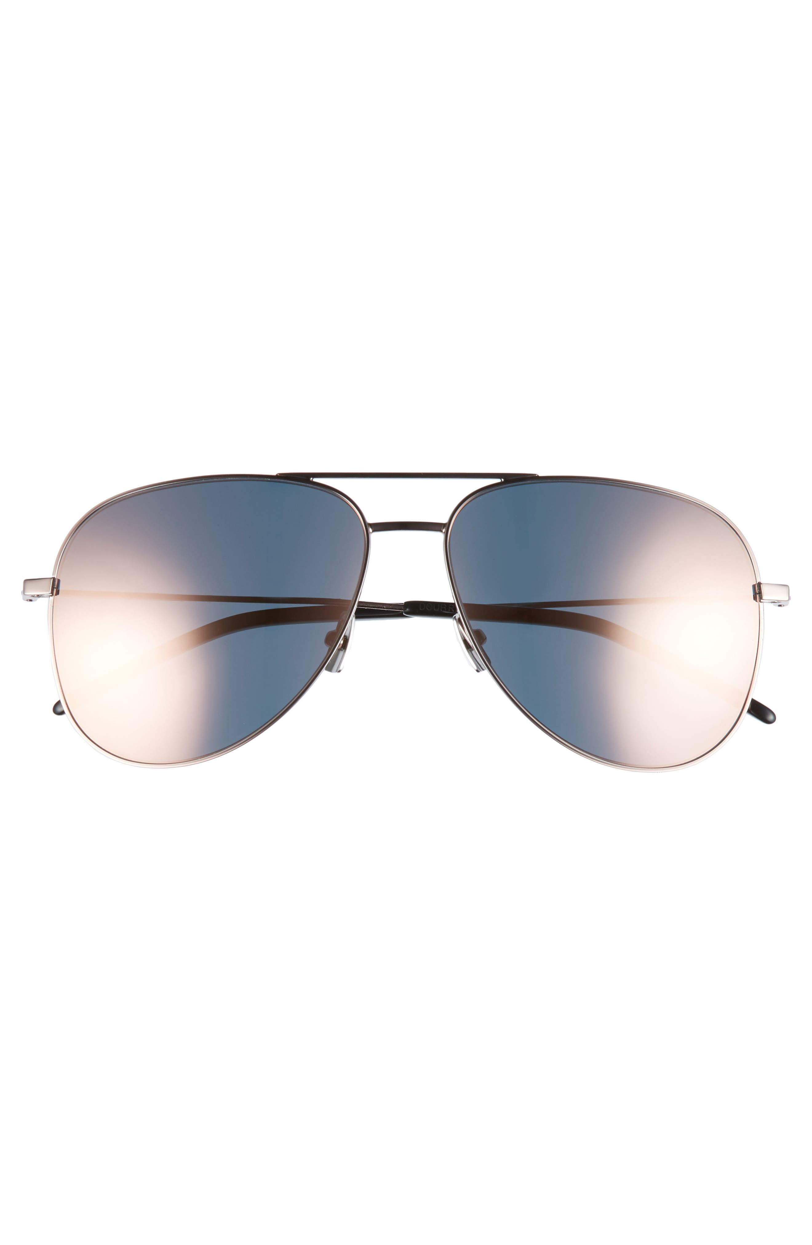 59mm Brow Bar Aviator Sunglasses,                             Alternate thumbnail 3, color,                             Champagne