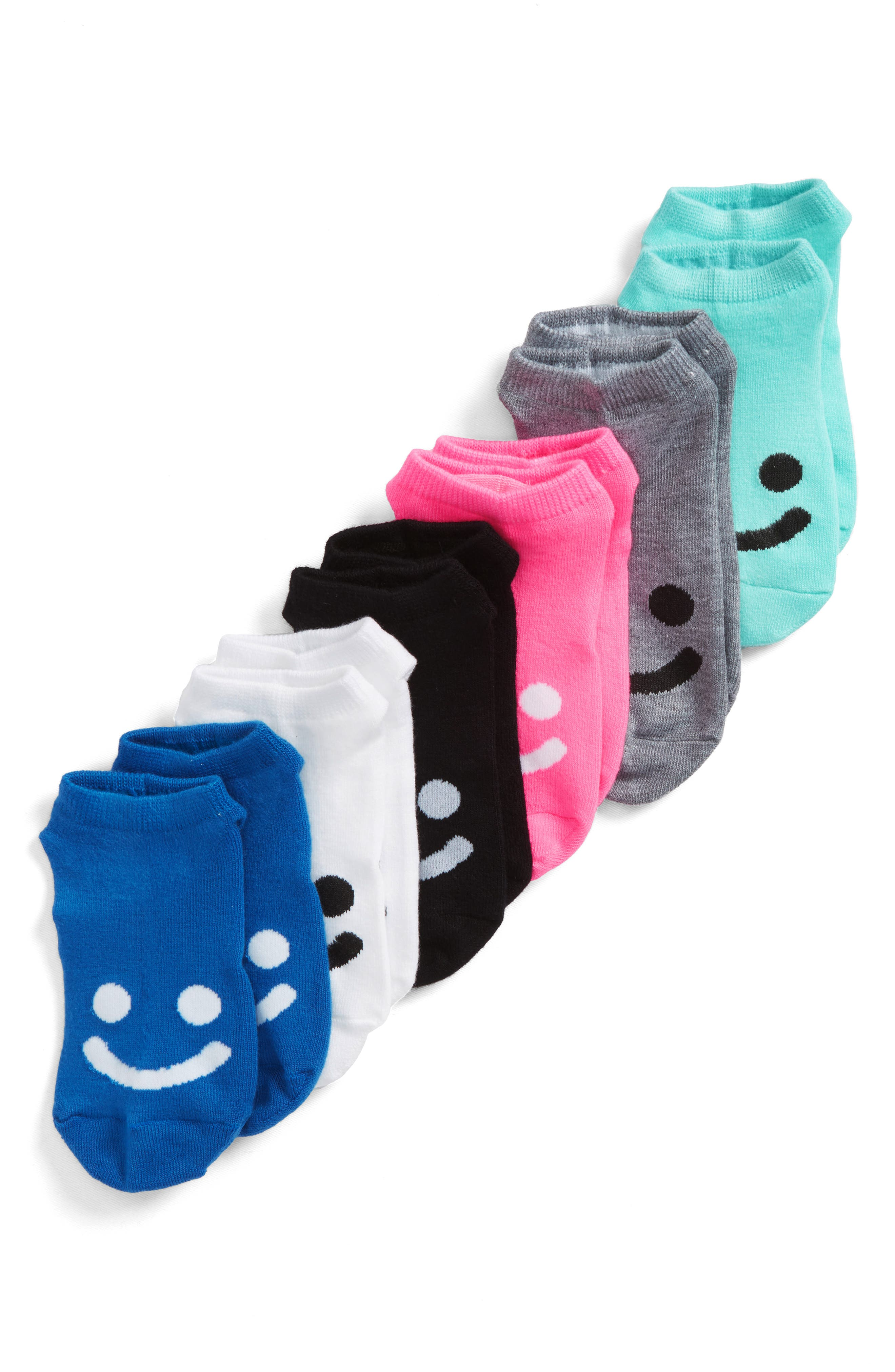 6-Pack All Smiles No-Show Socks,                             Main thumbnail 1, color,                             Blue