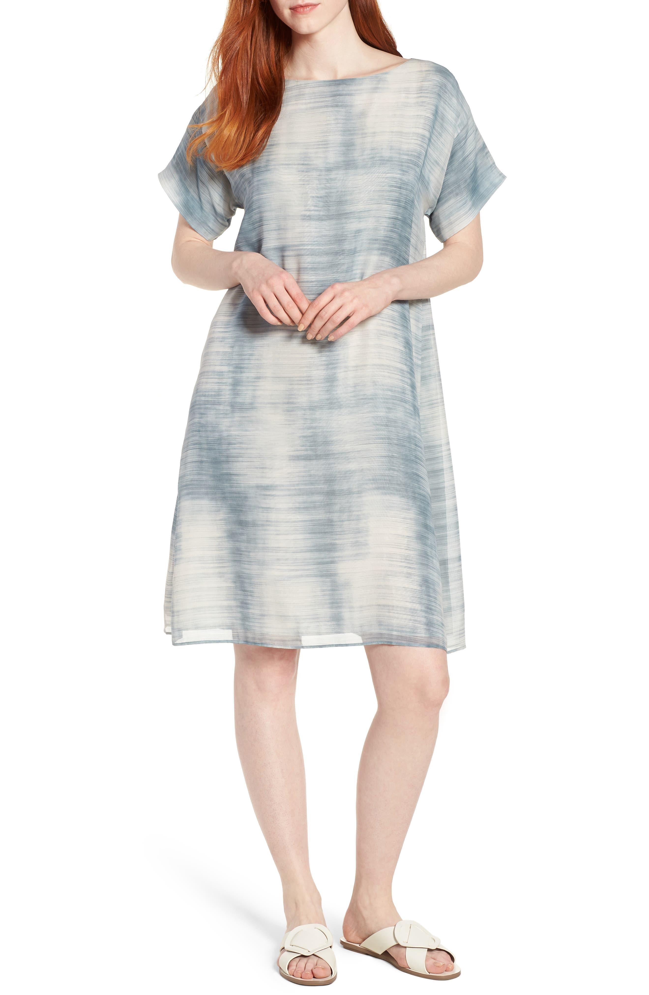 Bateau Neck Silk Shift Dress,                             Main thumbnail 1, color,                             Blue Steel