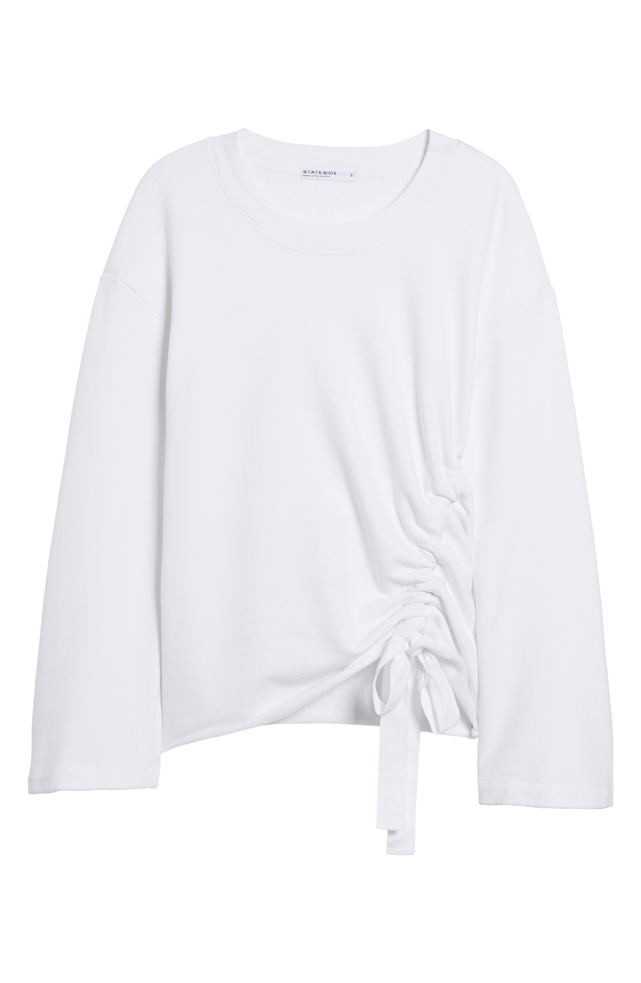 Gathered French Terry Sweatshirt,                             Alternate thumbnail 7, color,                             White
