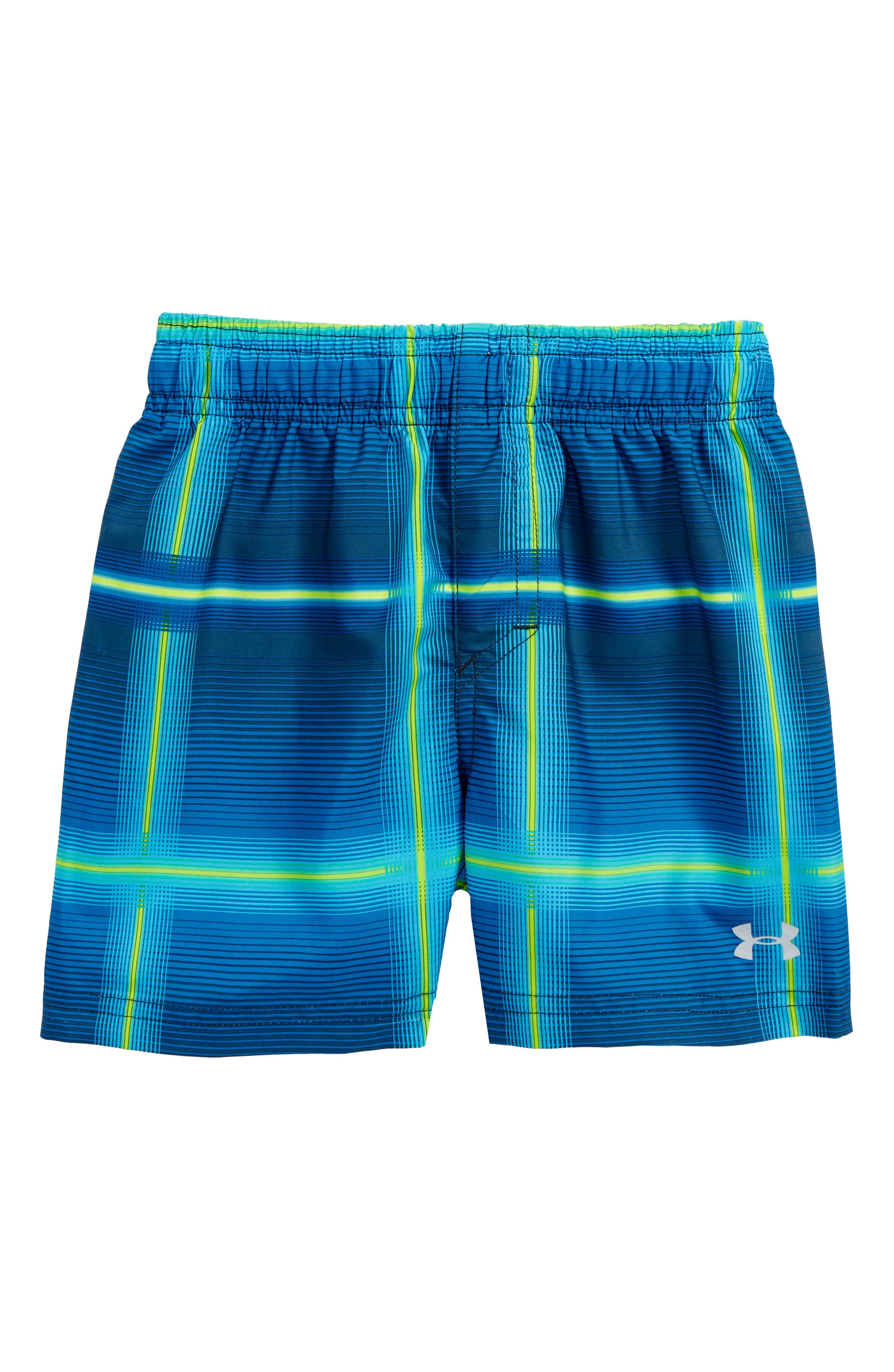 Volt Plaid Volley Swim Trunks,                         Main,                         color, True Ink