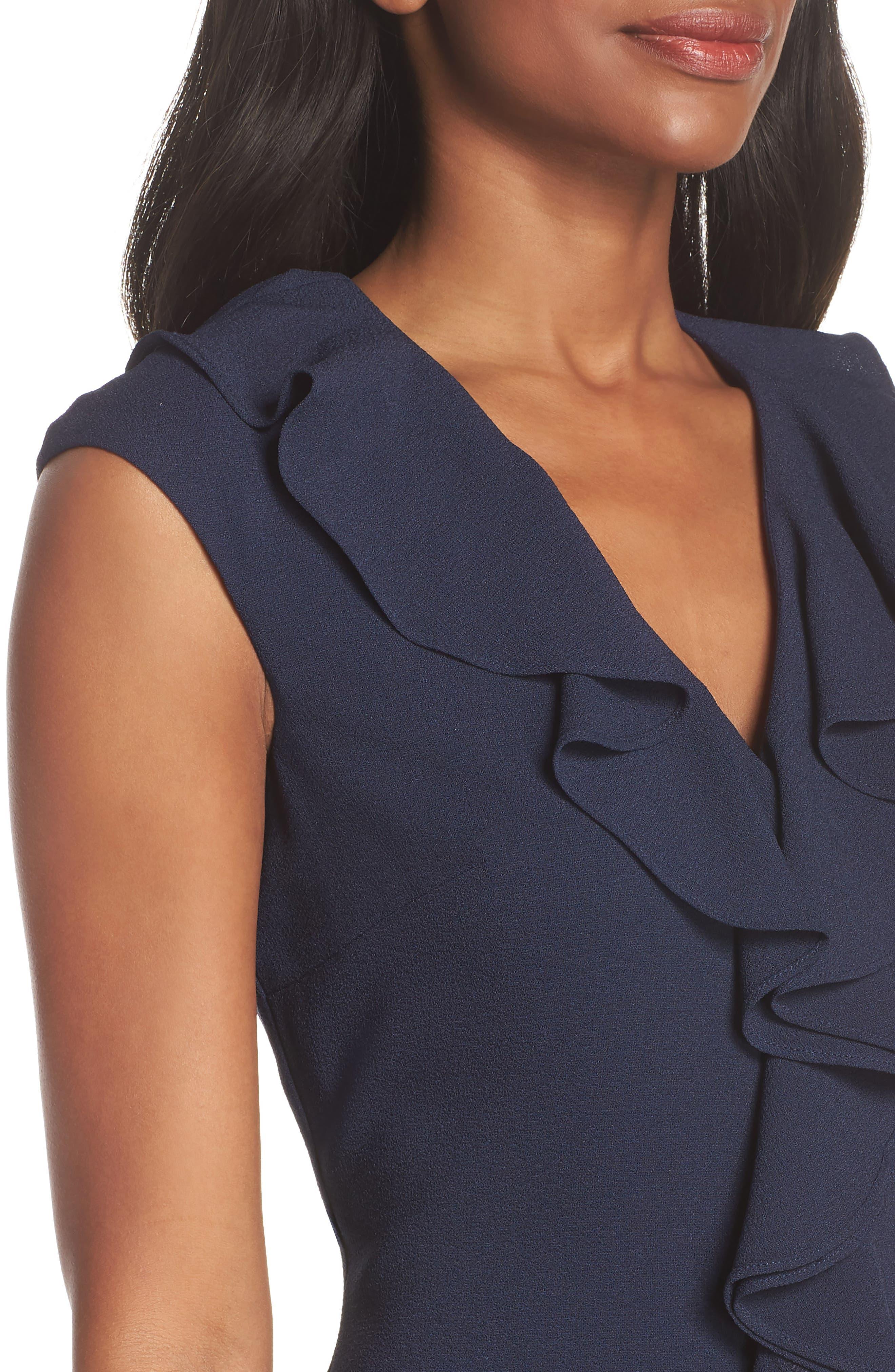 Sleeveless Crepe Ruffle Dress,                             Alternate thumbnail 4, color,                             Navy