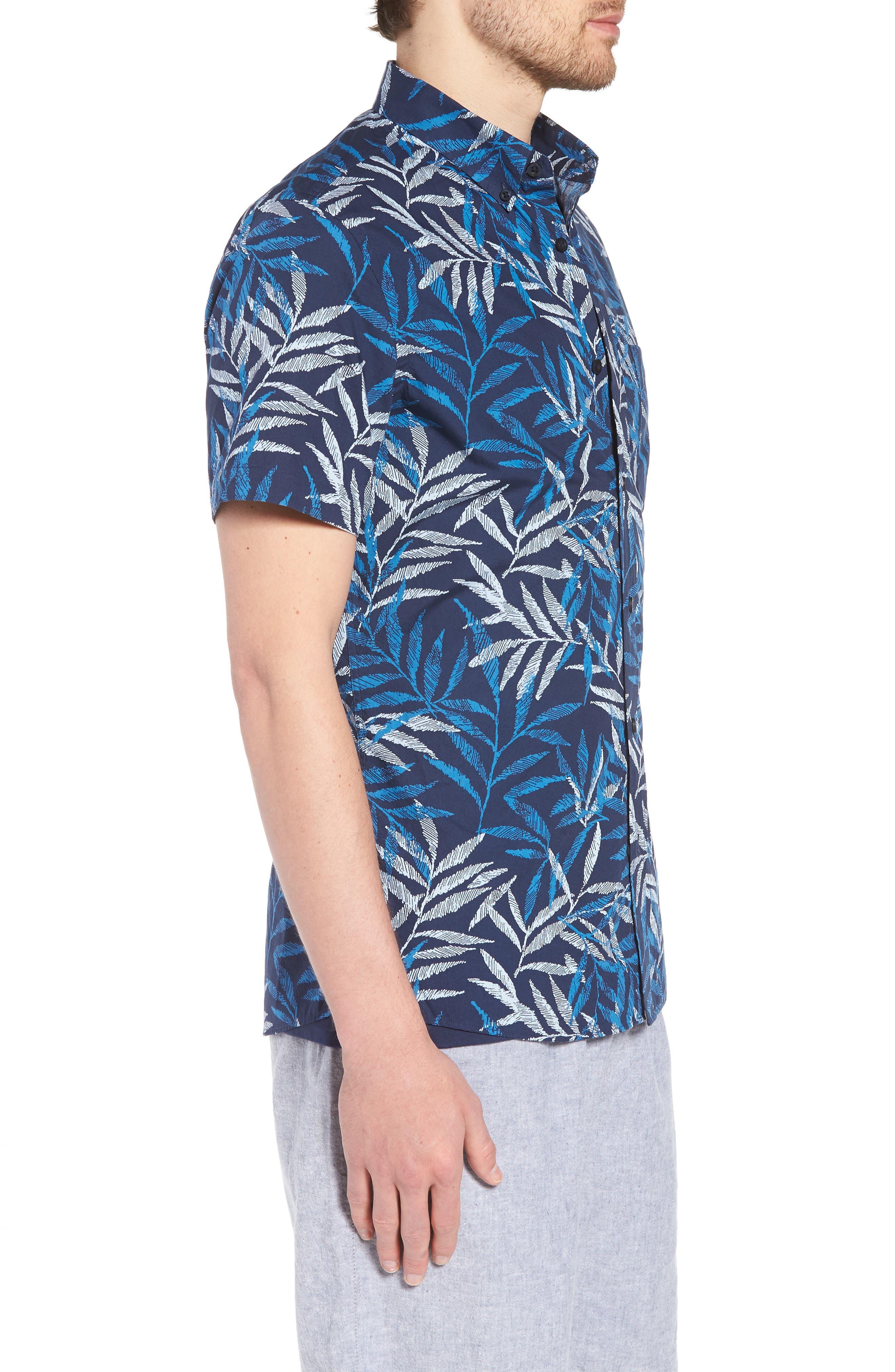 Trim Fit Print Short Sleeve Sport Shirt,                             Alternate thumbnail 3, color,                             Blue Dark Etched Leaves