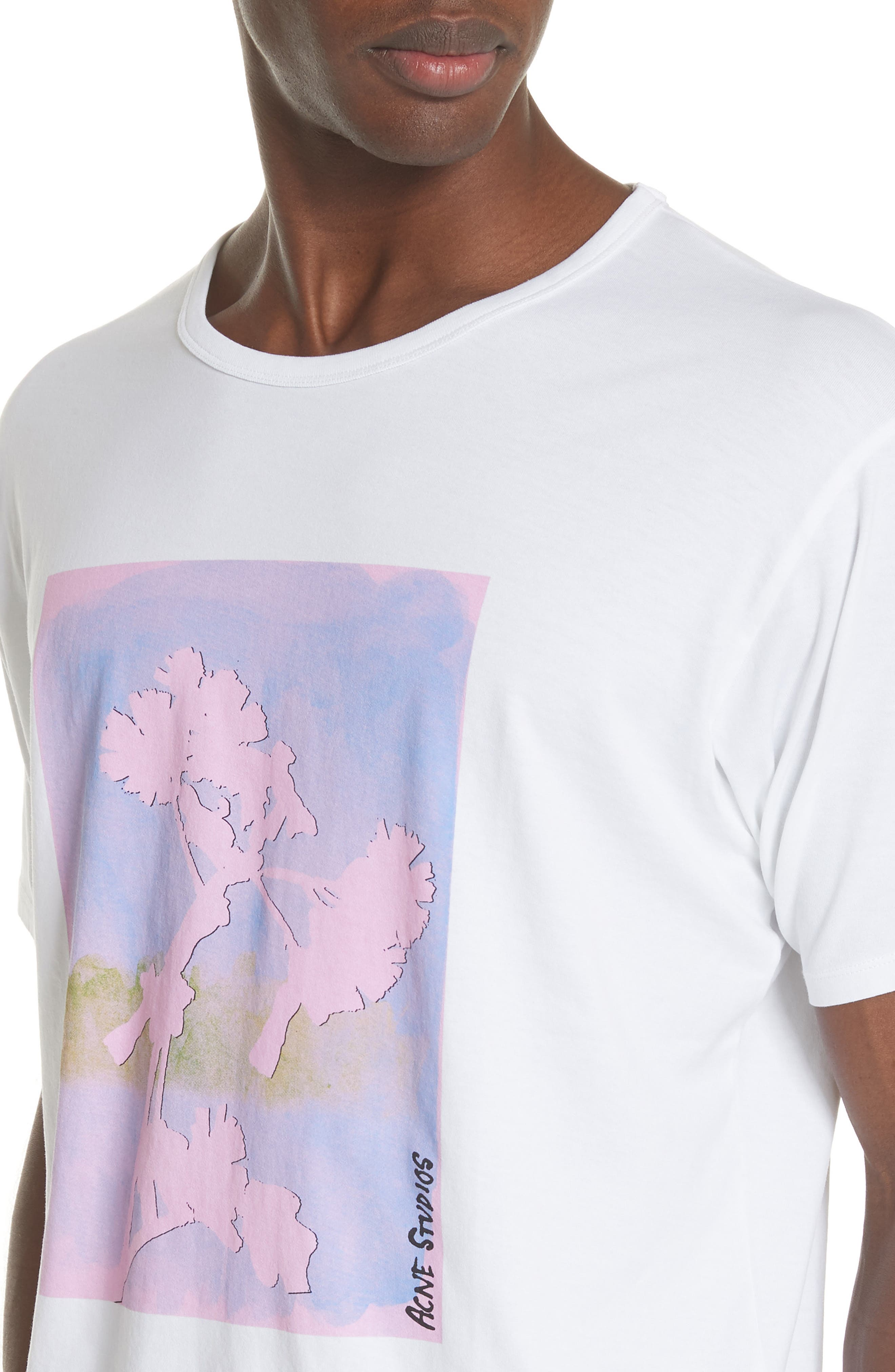 Niave Flower Graphic T-Shirt,                             Alternate thumbnail 4, color,                             Optic White