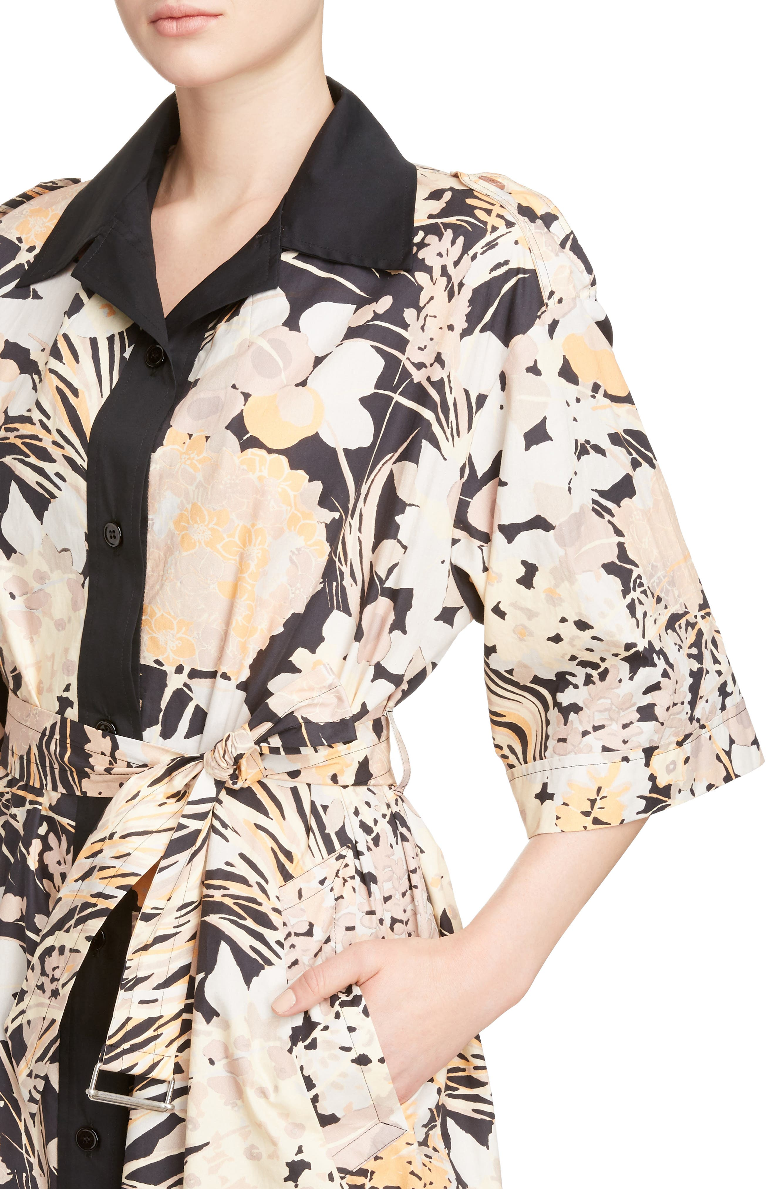 Floral Cotton Shirtdress,                             Alternate thumbnail 4, color,                             Skin