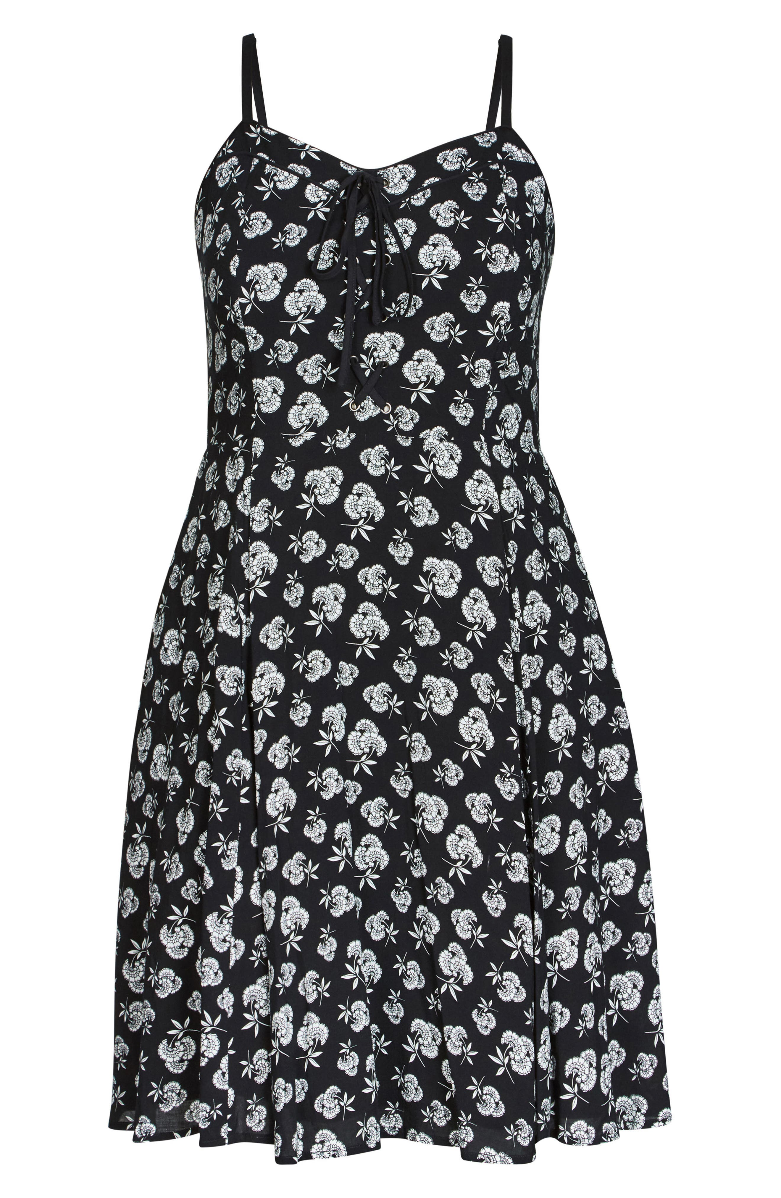 Deco Floral A-Line Dress,                             Alternate thumbnail 3, color,                             Deco Floral