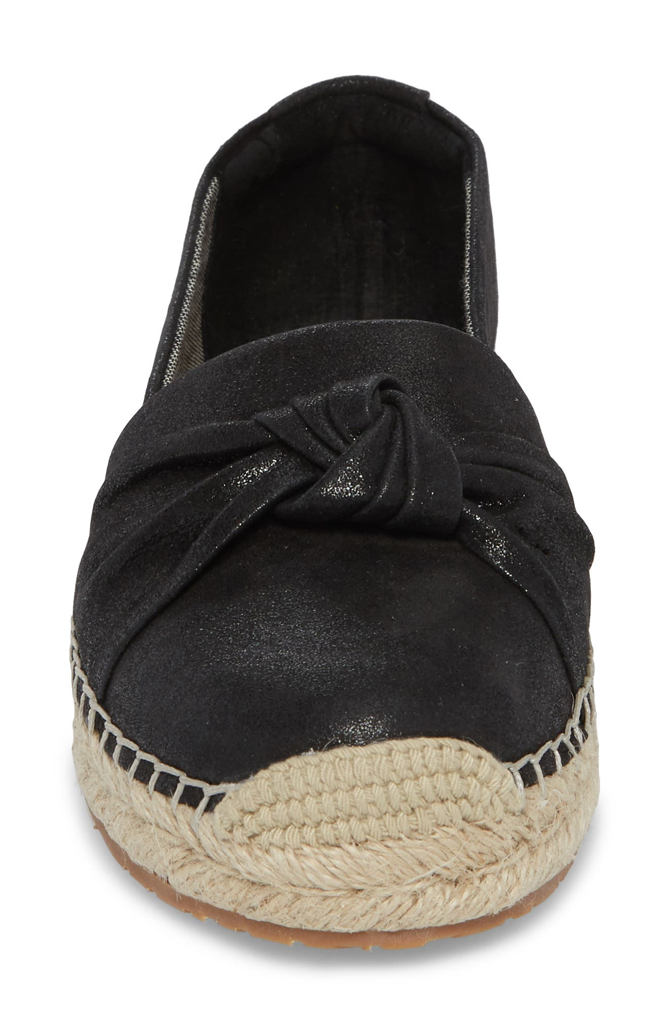 Halsey Espadrille Flat,                             Alternate thumbnail 4, color,                             Black Suede