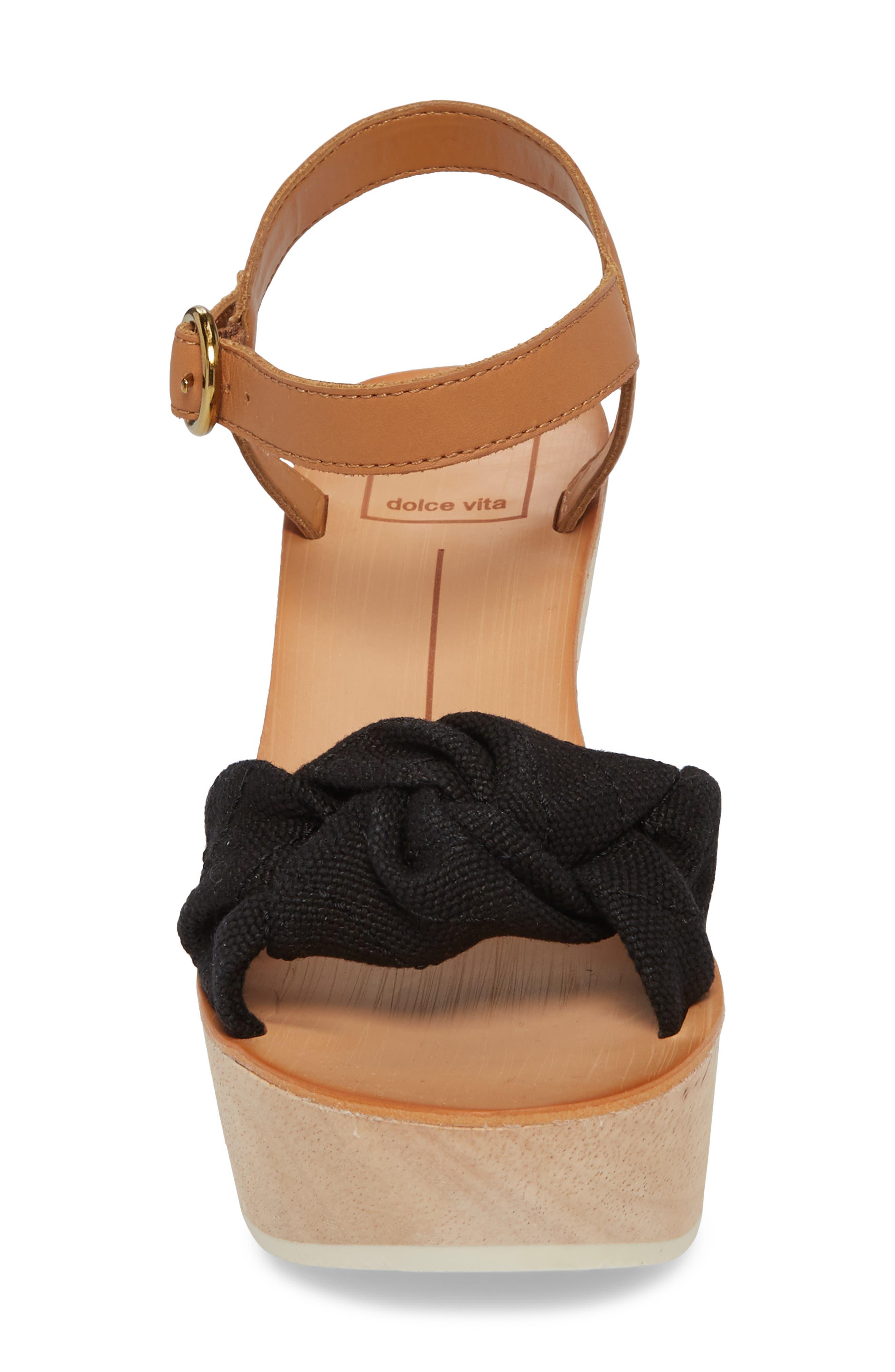 Shia Knotted Platform Sandal,                             Alternate thumbnail 4, color,                             Black Linen