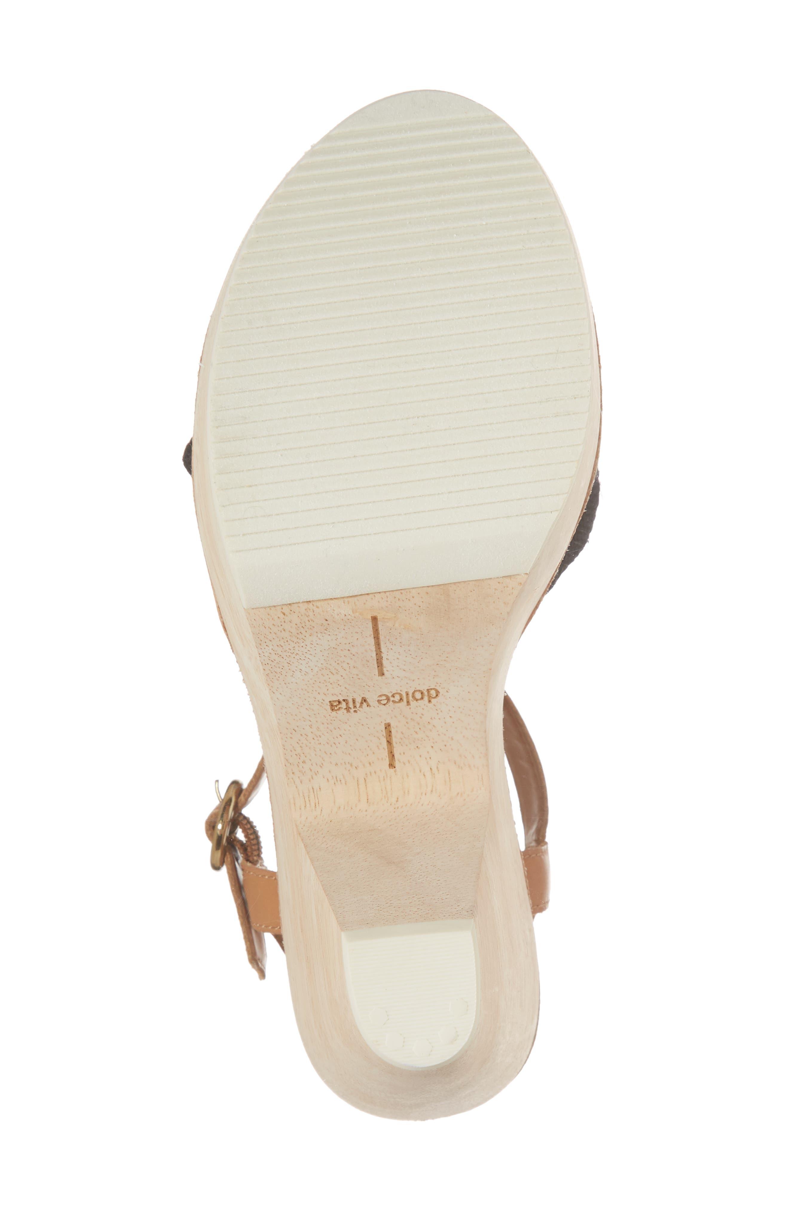 Shia Knotted Platform Sandal,                             Alternate thumbnail 6, color,                             Black Linen