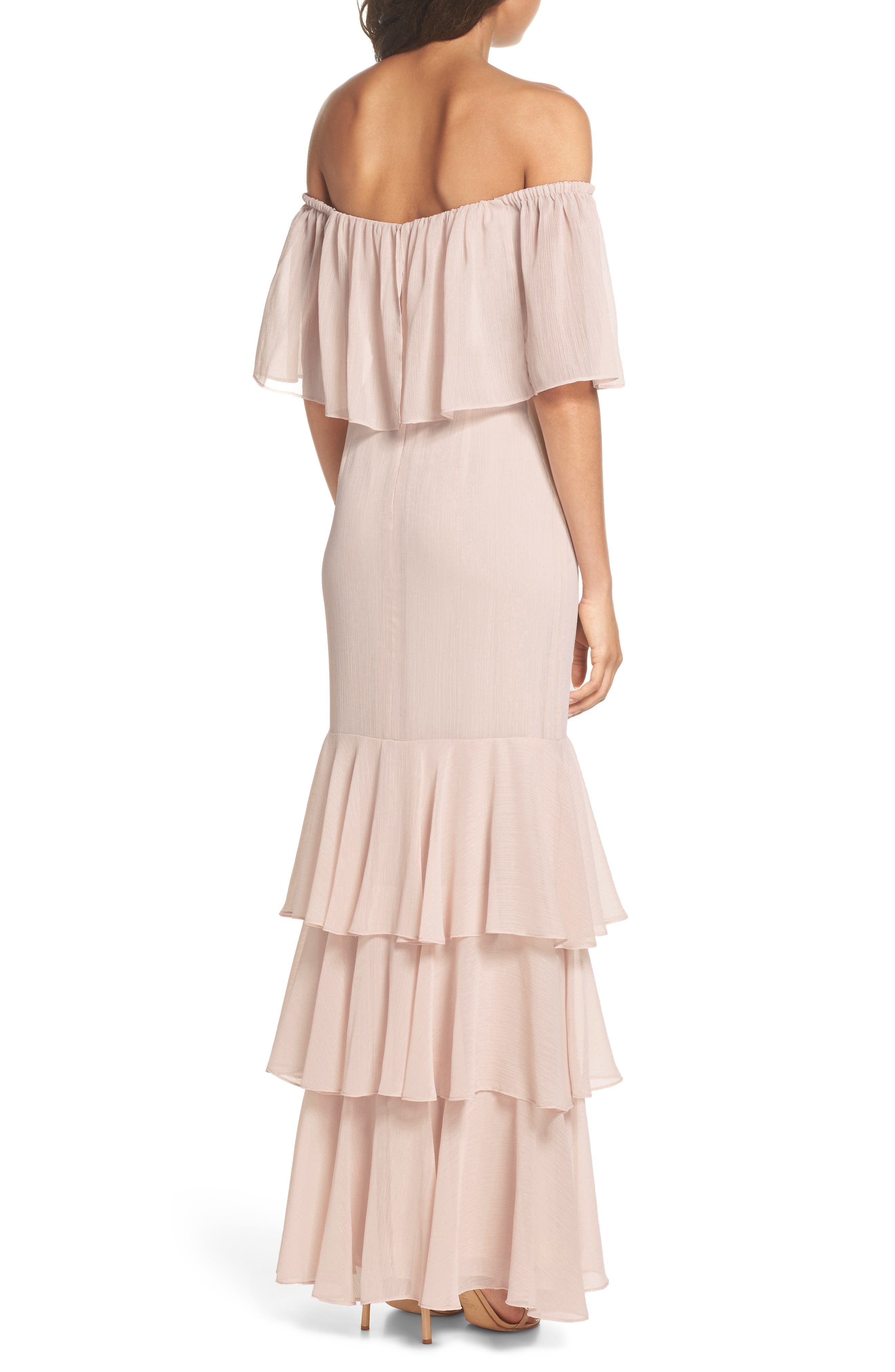 Penelope Off the Shoulder Popover Gown,                             Alternate thumbnail 2, color,                             Champagne